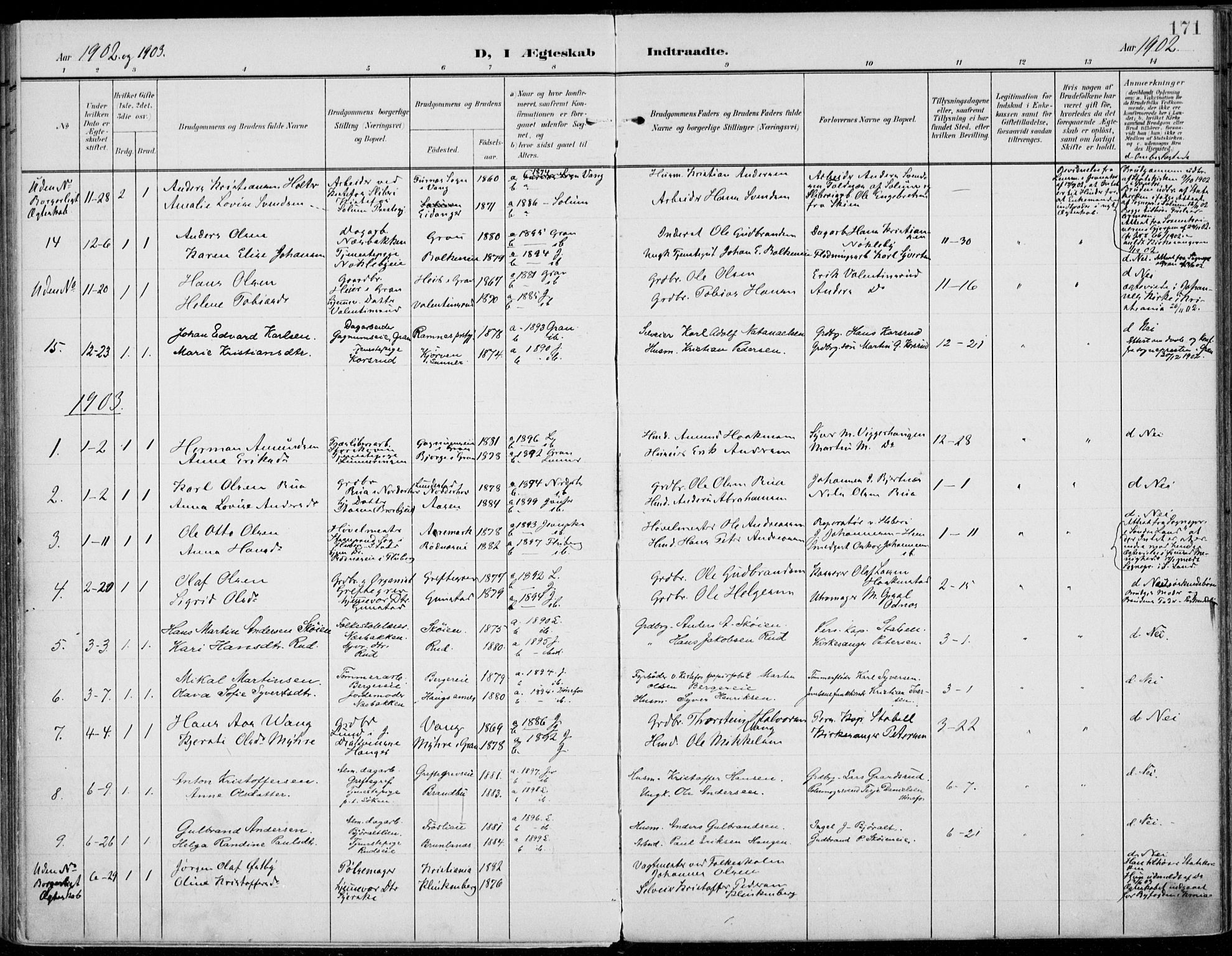 SAH, Jevnaker prestekontor, Ministerialbok nr. 11, 1902-1913, s. 171