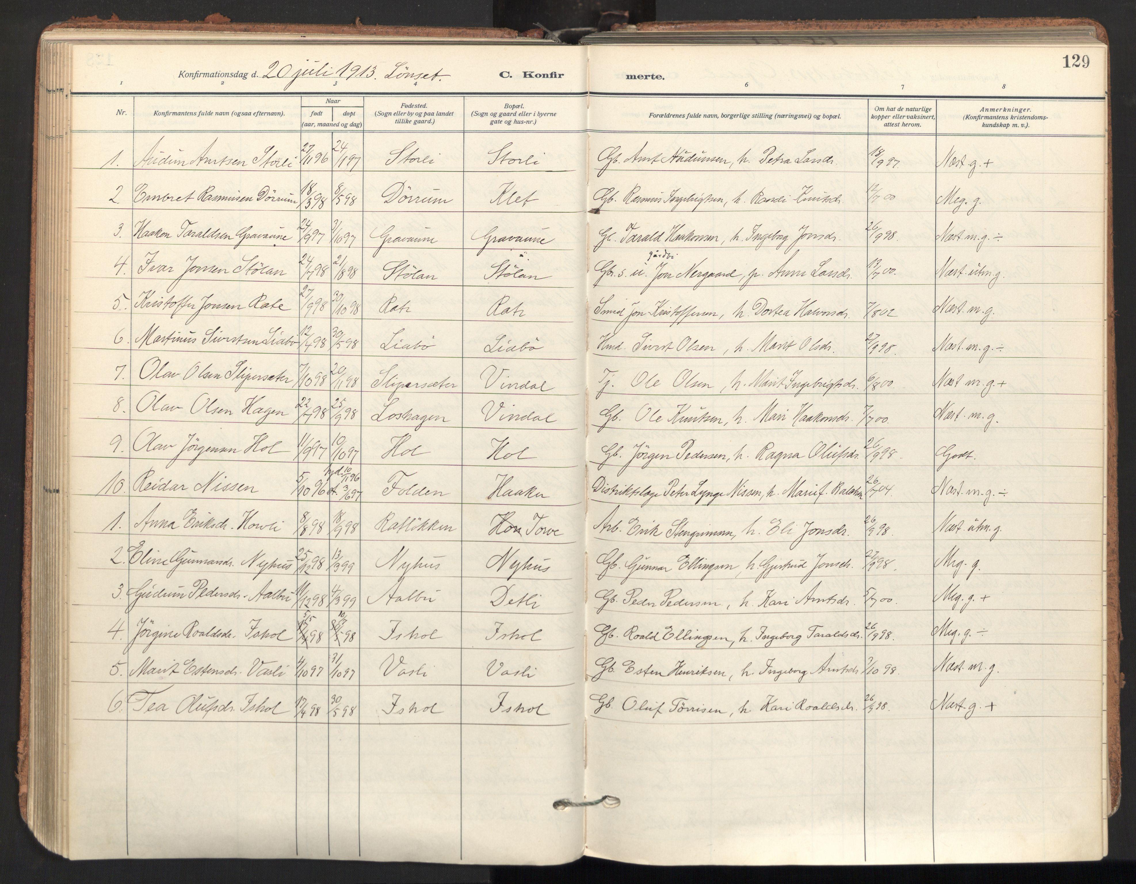 SAT, Ministerialprotokoller, klokkerbøker og fødselsregistre - Sør-Trøndelag, 678/L0909: Ministerialbok nr. 678A17, 1912-1930, s. 129