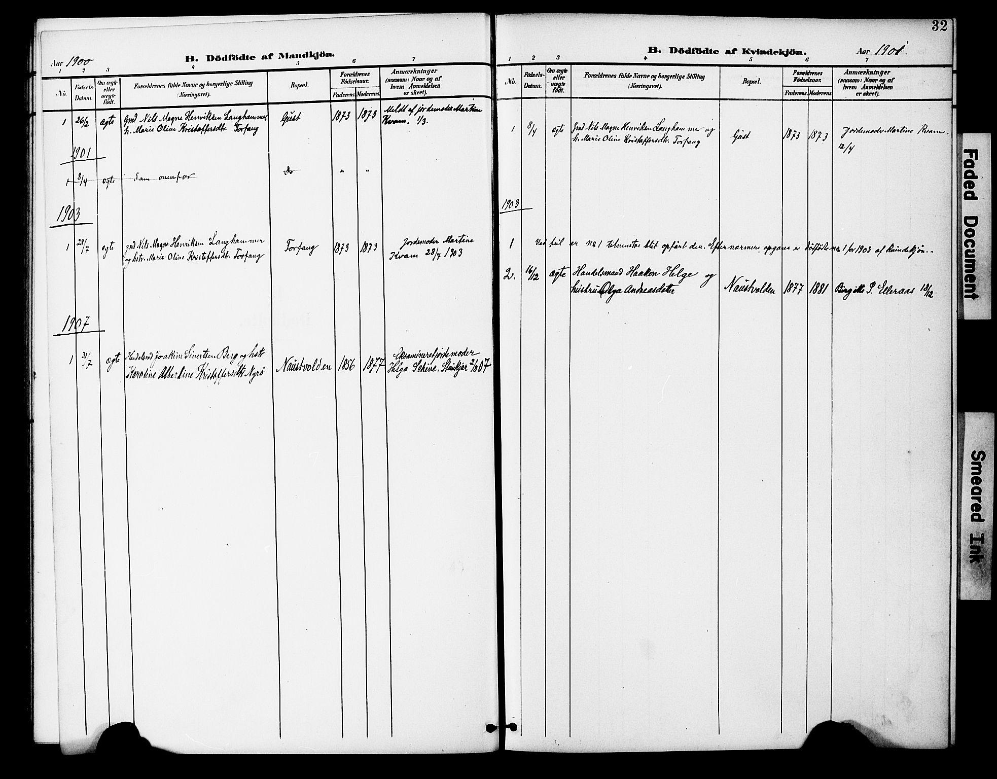 SAT, Ministerialprotokoller, klokkerbøker og fødselsregistre - Nord-Trøndelag, 746/L0452: Ministerialbok nr. 746A09, 1900-1908, s. 32