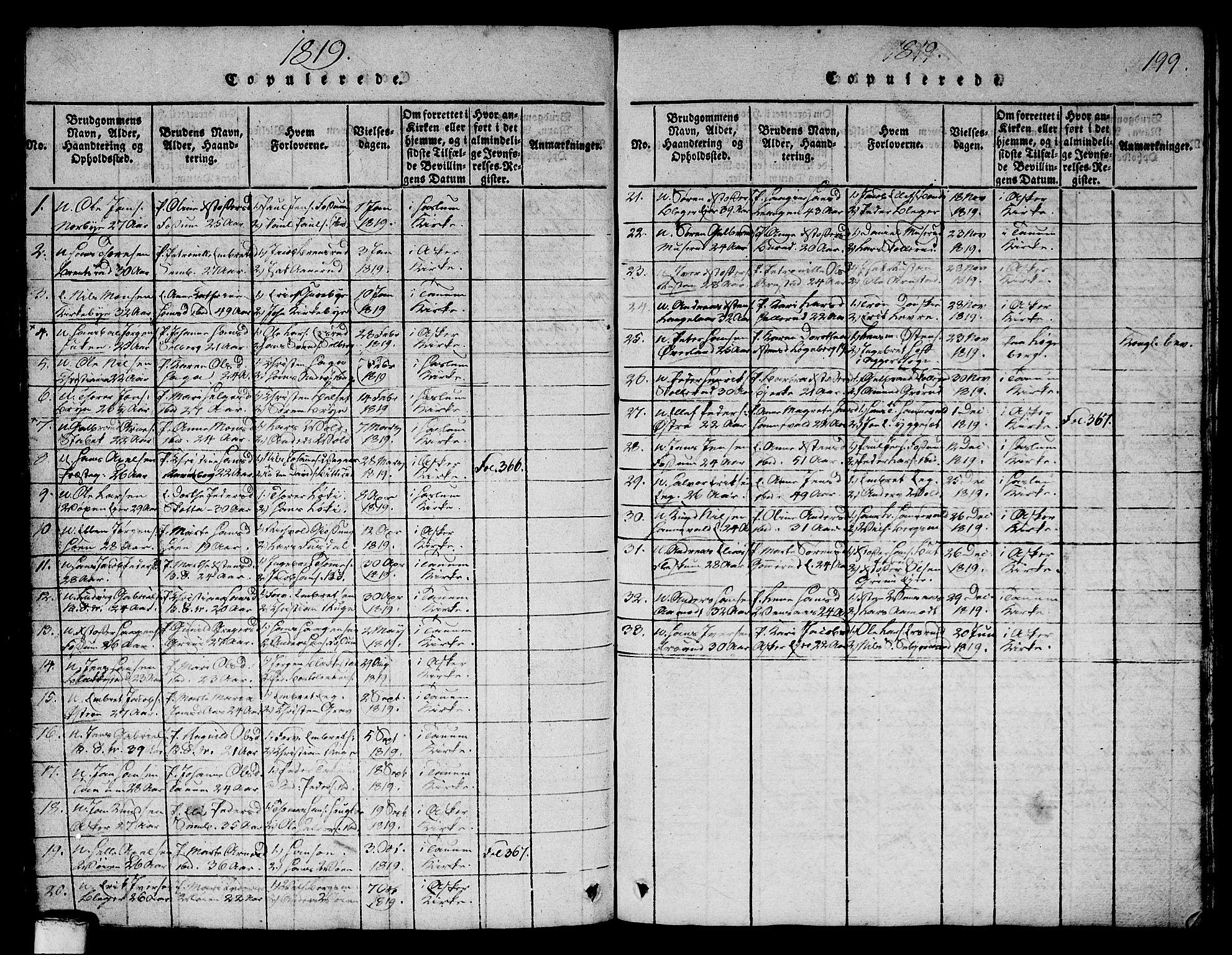 SAO, Asker prestekontor Kirkebøker, G/Ga/L0001: Klokkerbok nr. I 1, 1814-1830, s. 199