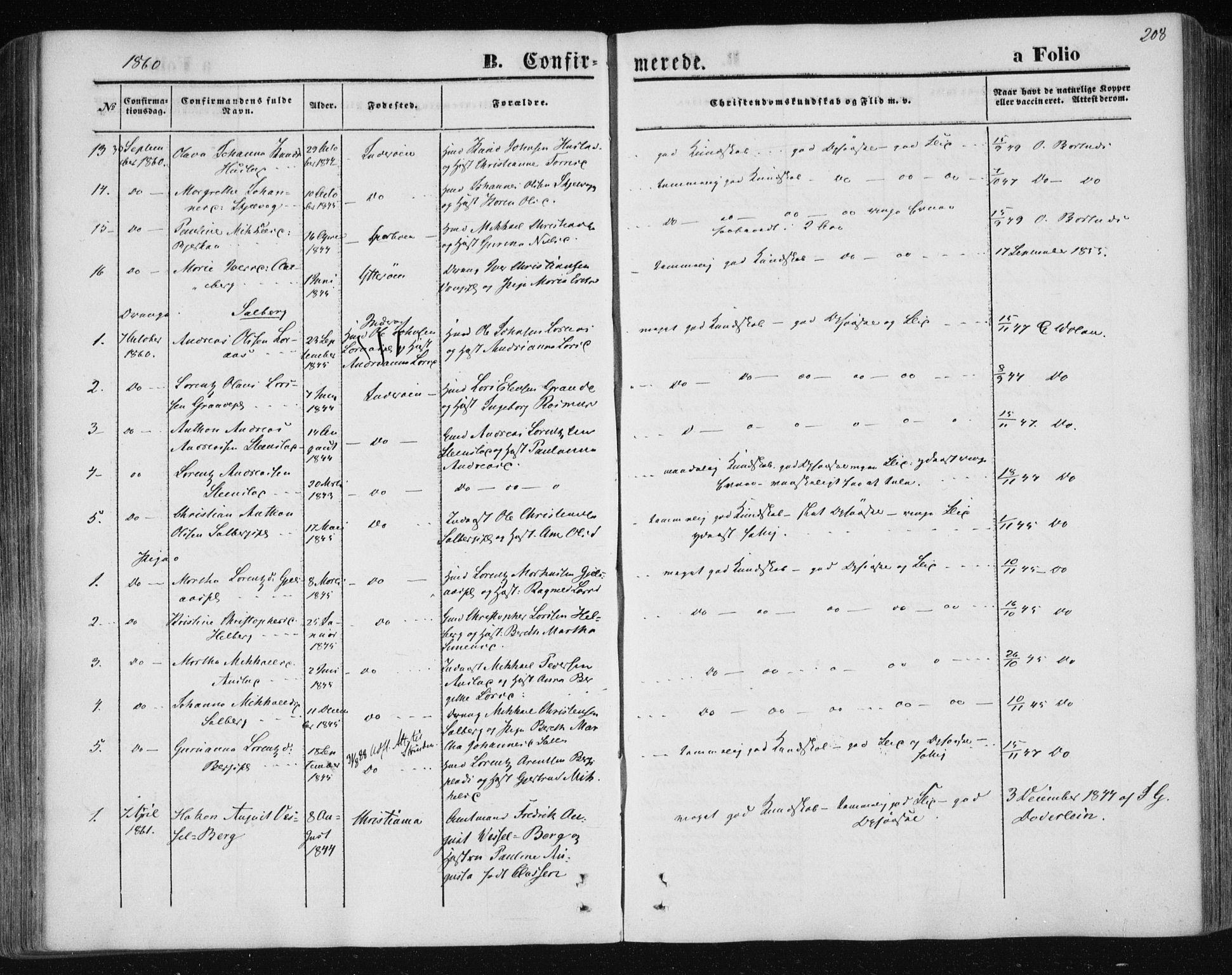 SAT, Ministerialprotokoller, klokkerbøker og fødselsregistre - Nord-Trøndelag, 730/L0283: Ministerialbok nr. 730A08, 1855-1865, s. 208