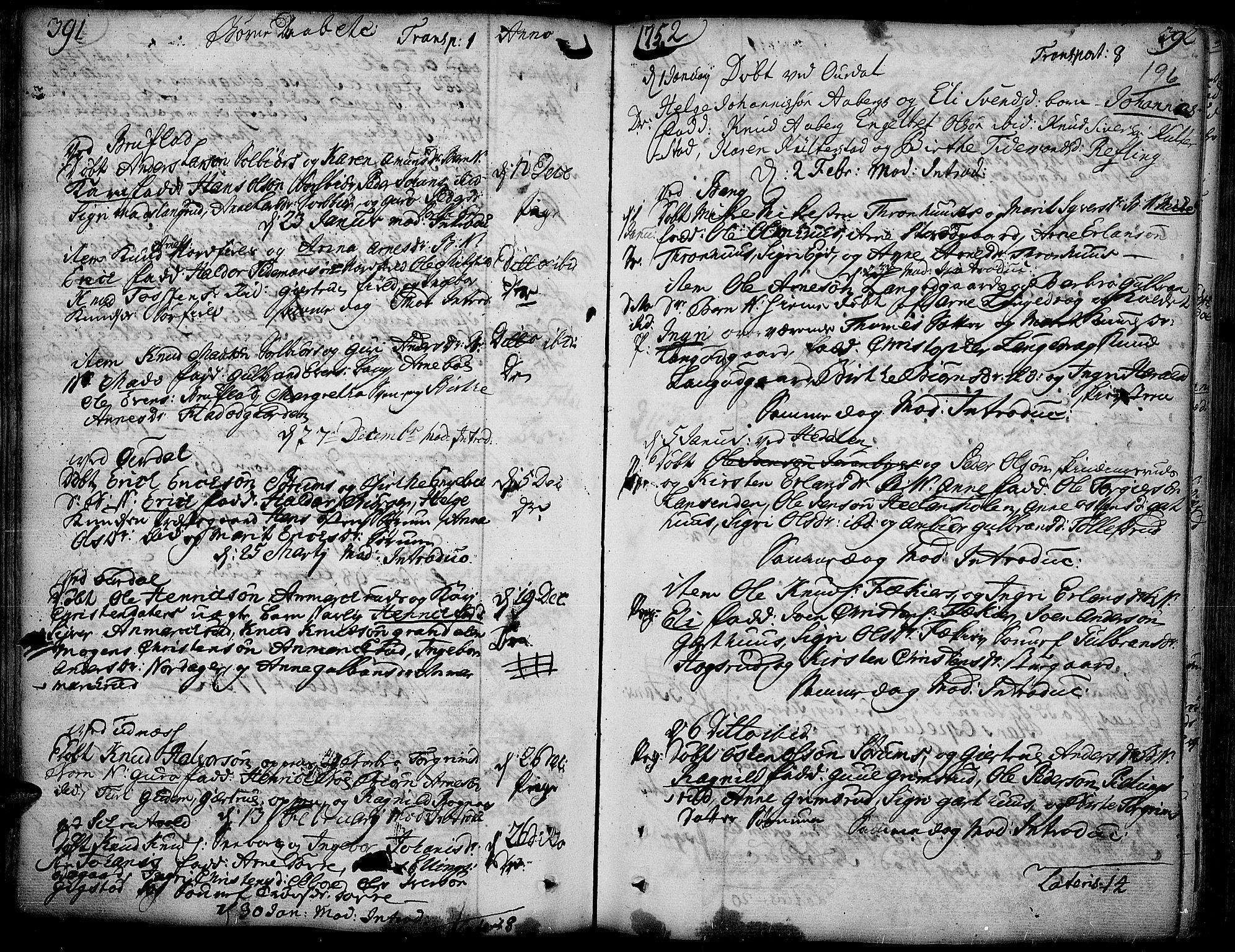 SAH, Aurdal prestekontor, Ministerialbok nr. 4, 1730-1762, s. 391-392