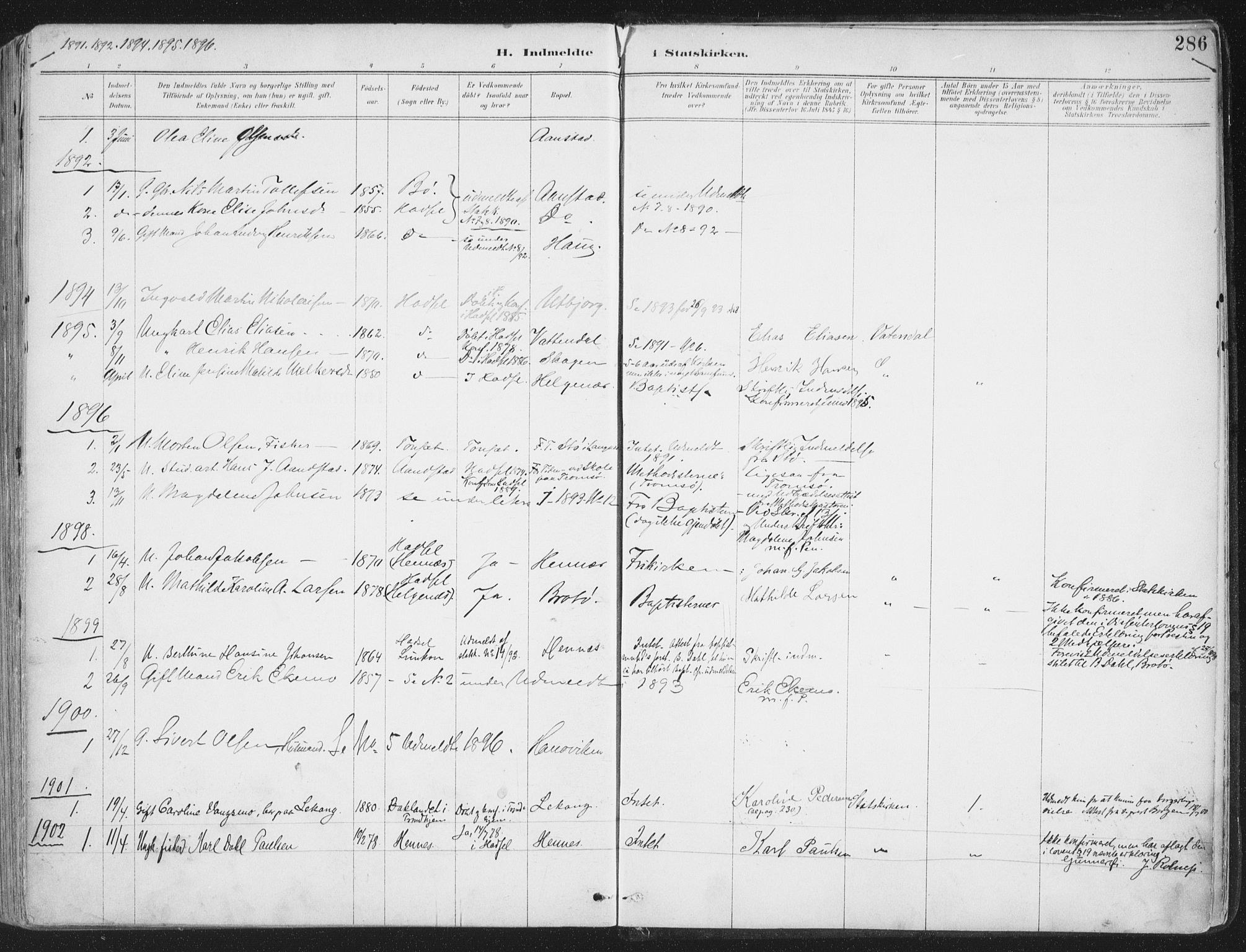 SAT, Ministerialprotokoller, klokkerbøker og fødselsregistre - Nordland, 888/L1246: Ministerialbok nr. 888A12, 1891-1903, s. 286