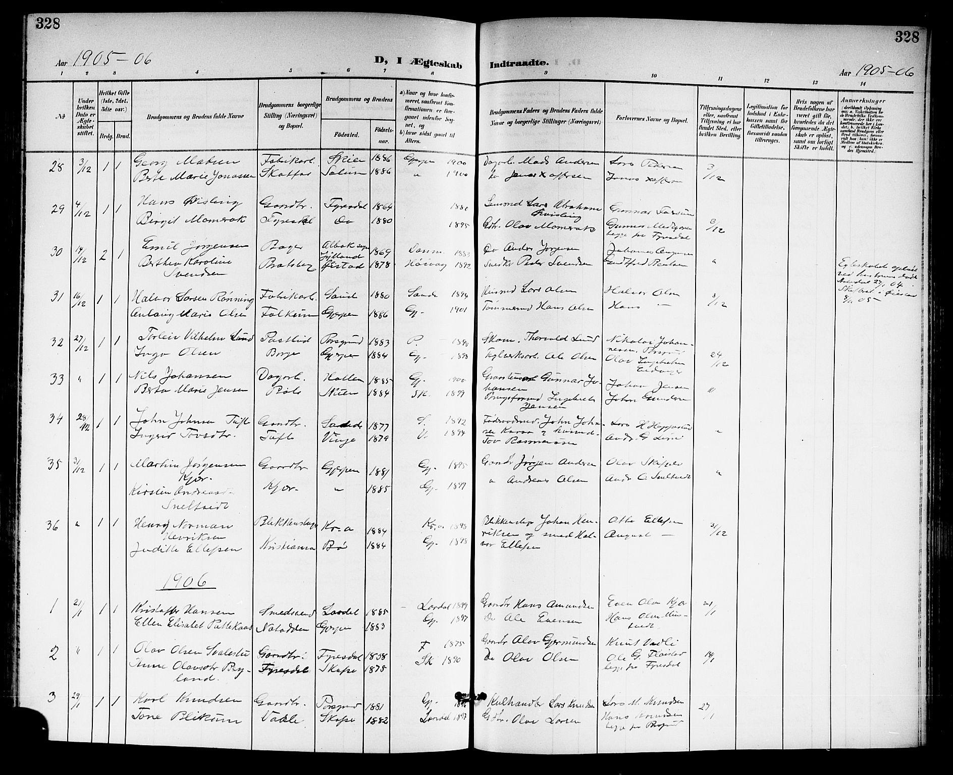 SAKO, Gjerpen kirkebøker, G/Ga/L0003: Klokkerbok nr. I 3, 1901-1919, s. 328