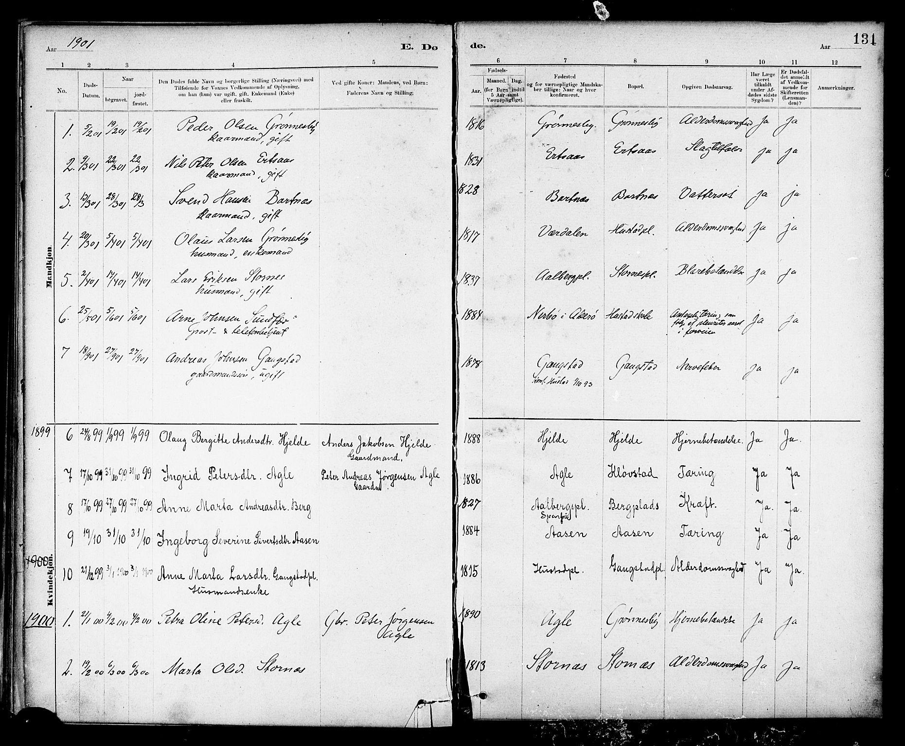 SAT, Ministerialprotokoller, klokkerbøker og fødselsregistre - Nord-Trøndelag, 732/L0318: Klokkerbok nr. 732C02, 1881-1911, s. 131
