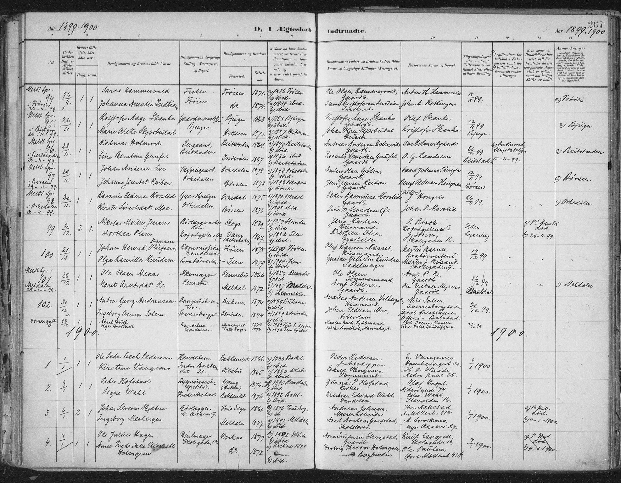 SAT, Ministerialprotokoller, klokkerbøker og fødselsregistre - Sør-Trøndelag, 603/L0167: Ministerialbok nr. 603A06, 1896-1932, s. 267