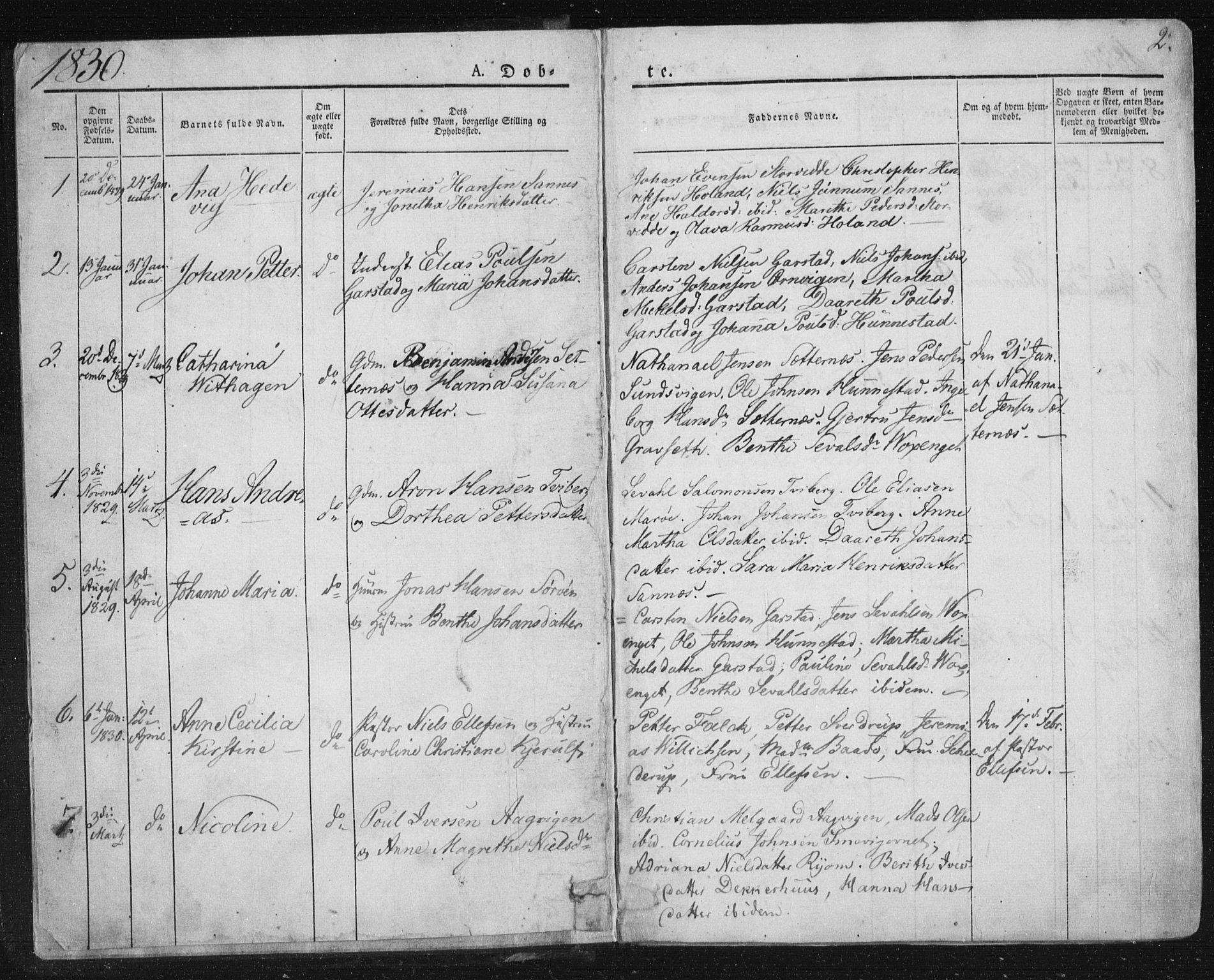 SAT, Ministerialprotokoller, klokkerbøker og fødselsregistre - Nord-Trøndelag, 784/L0669: Ministerialbok nr. 784A04, 1829-1859, s. 2