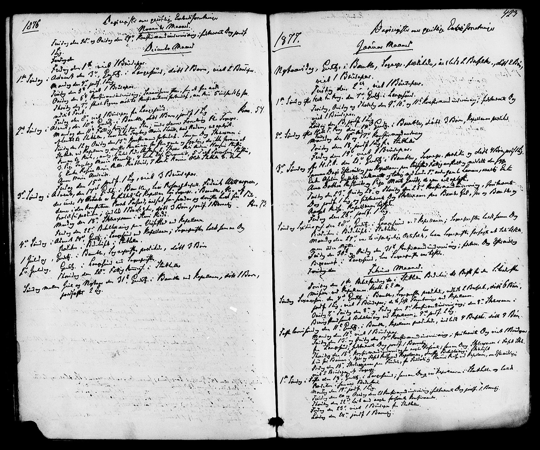 SAKO, Bamble kirkebøker, F/Fa/L0006: Ministerialbok nr. I 6, 1869-1877, s. 423