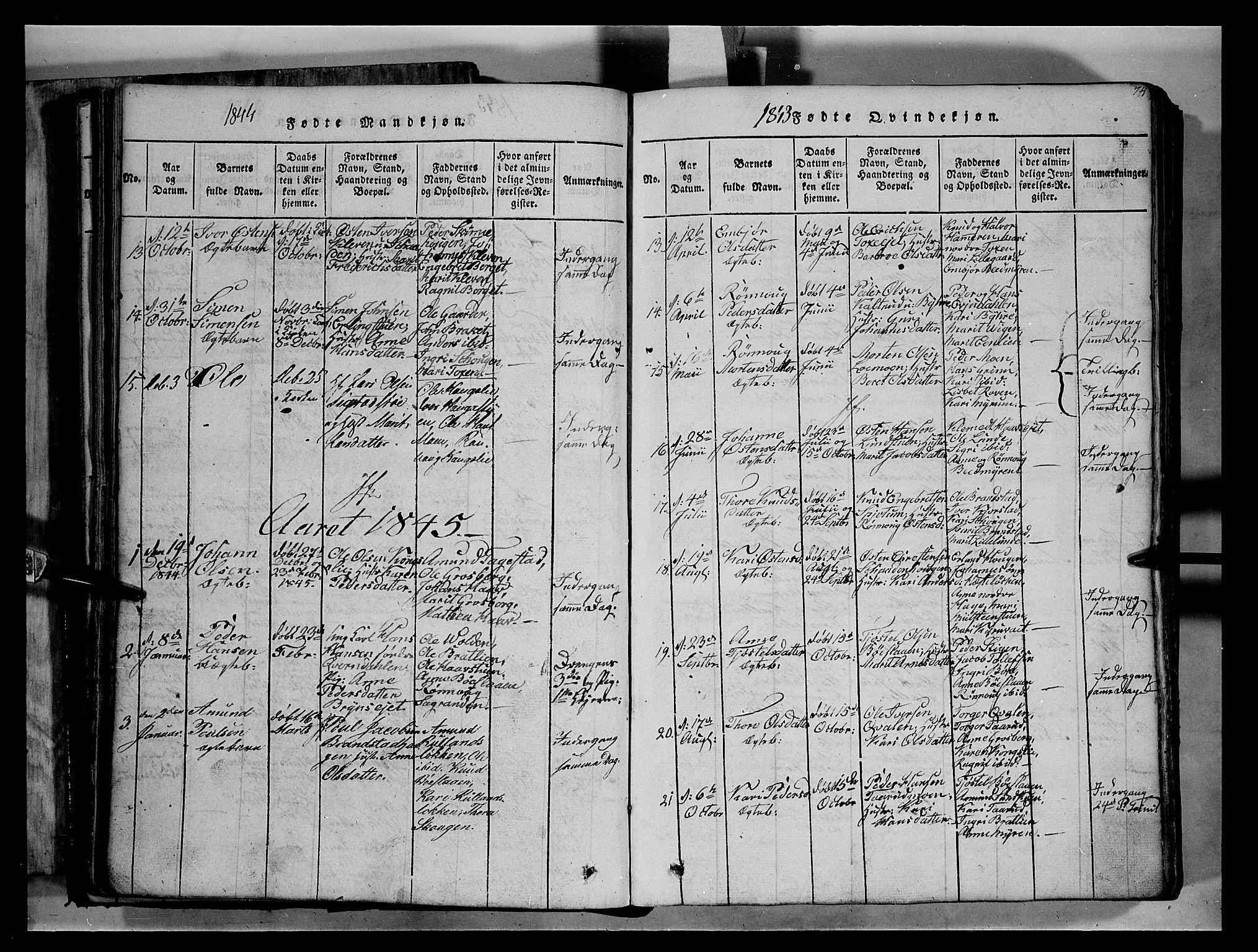 SAH, Fron prestekontor, H/Ha/Hab/L0004: Klokkerbok nr. 4, 1816-1850, s. 74
