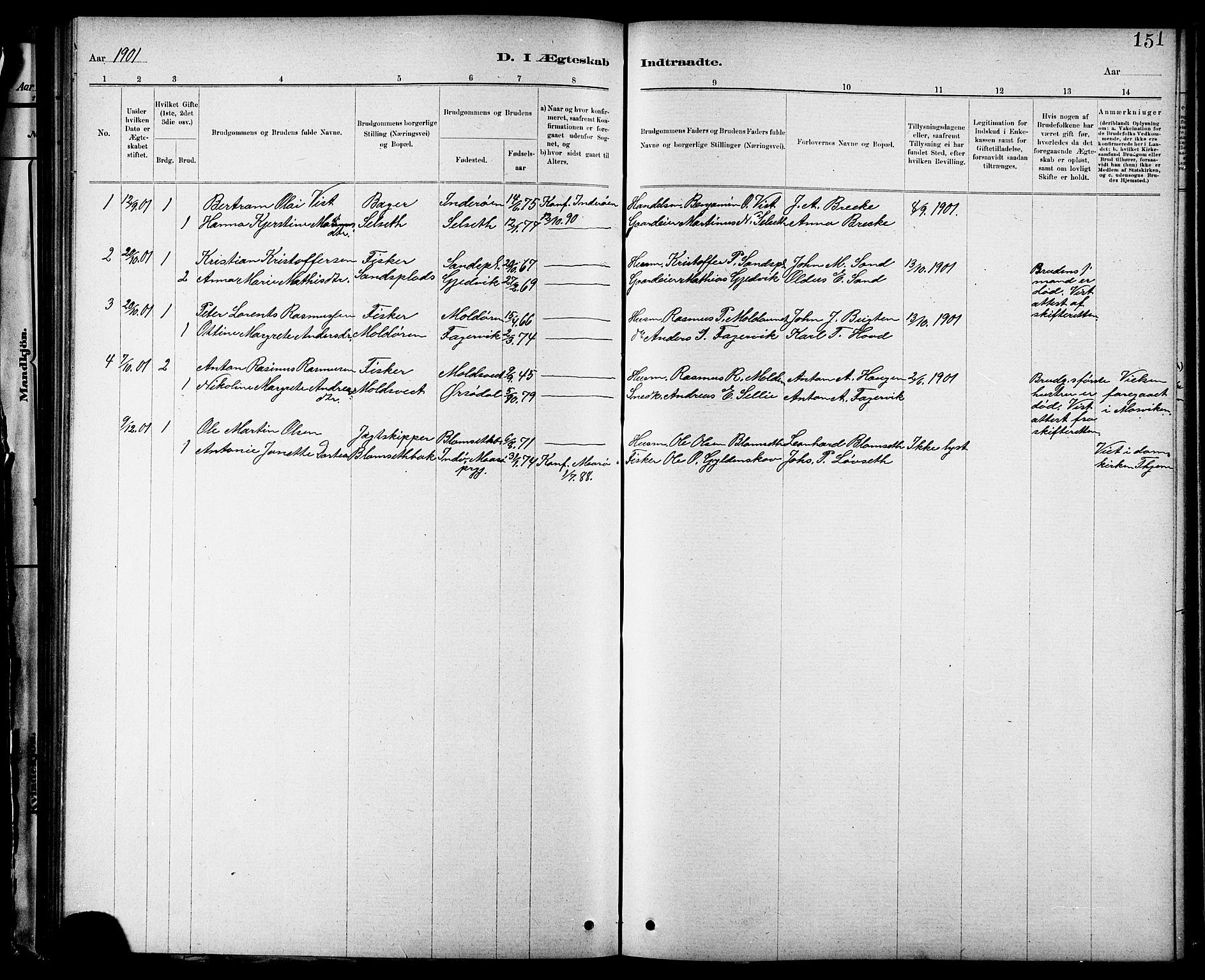 SAT, Ministerialprotokoller, klokkerbøker og fødselsregistre - Nord-Trøndelag, 744/L0423: Klokkerbok nr. 744C02, 1886-1905, s. 151