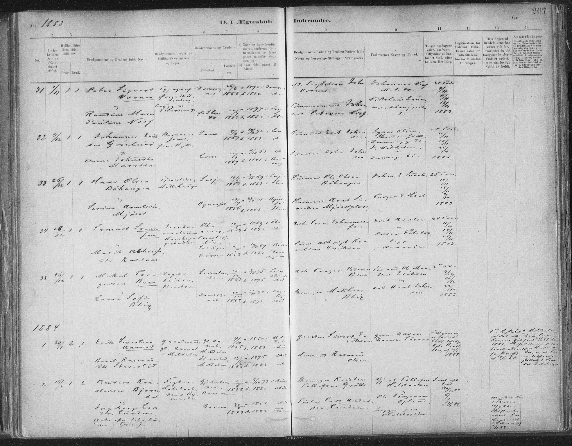 SAT, Ministerialprotokoller, klokkerbøker og fødselsregistre - Sør-Trøndelag, 603/L0162: Ministerialbok nr. 603A01, 1879-1895, s. 207