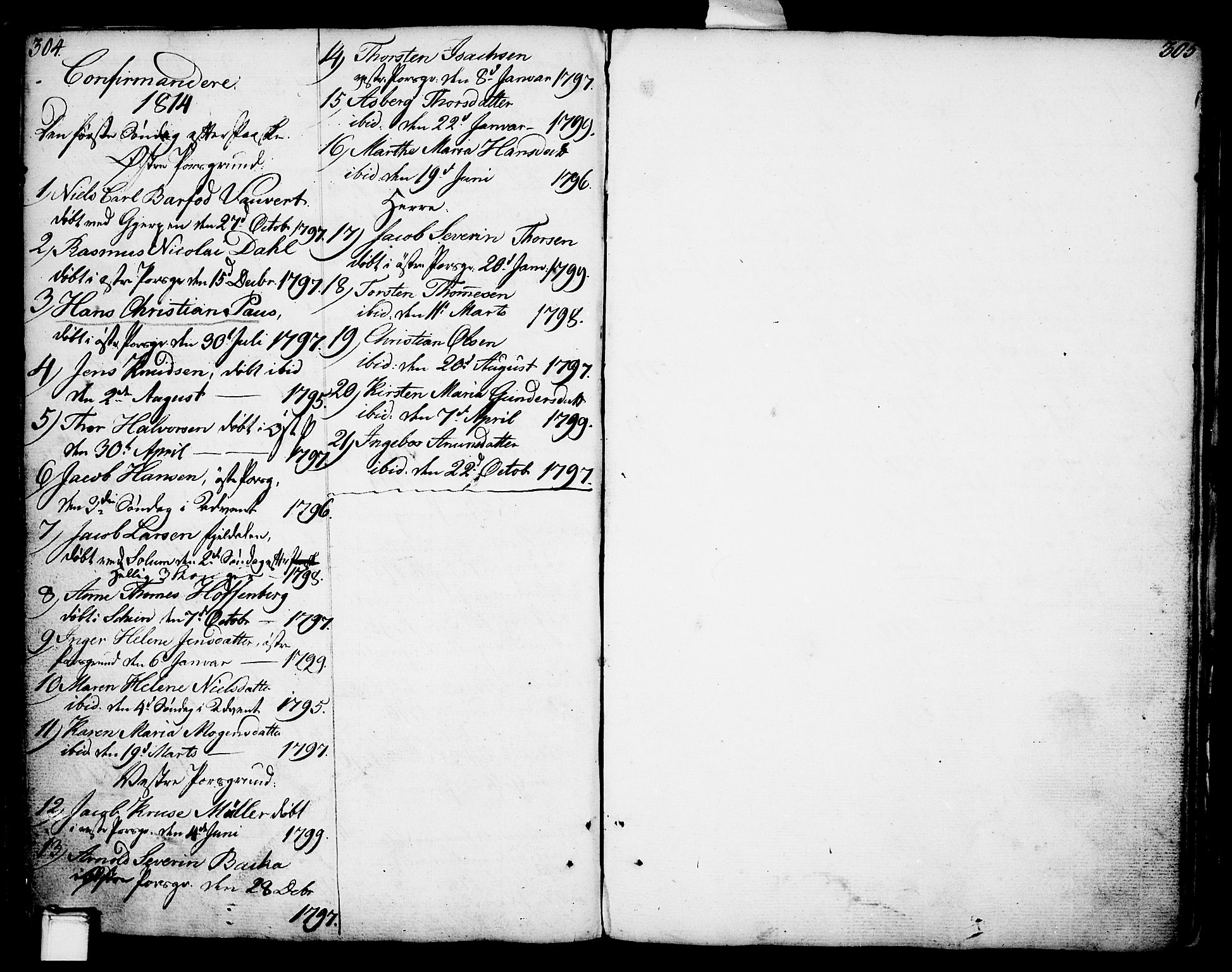 SAKO, Porsgrunn kirkebøker , F/Fa/L0002: Ministerialbok nr. 2, 1764-1814, s. 304-305