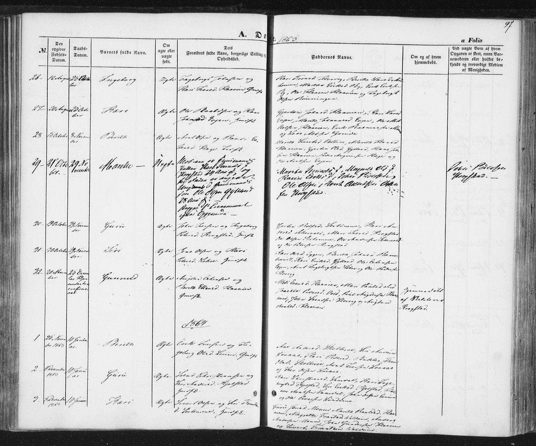 SAT, Ministerialprotokoller, klokkerbøker og fødselsregistre - Sør-Trøndelag, 692/L1103: Ministerialbok nr. 692A03, 1849-1870, s. 97