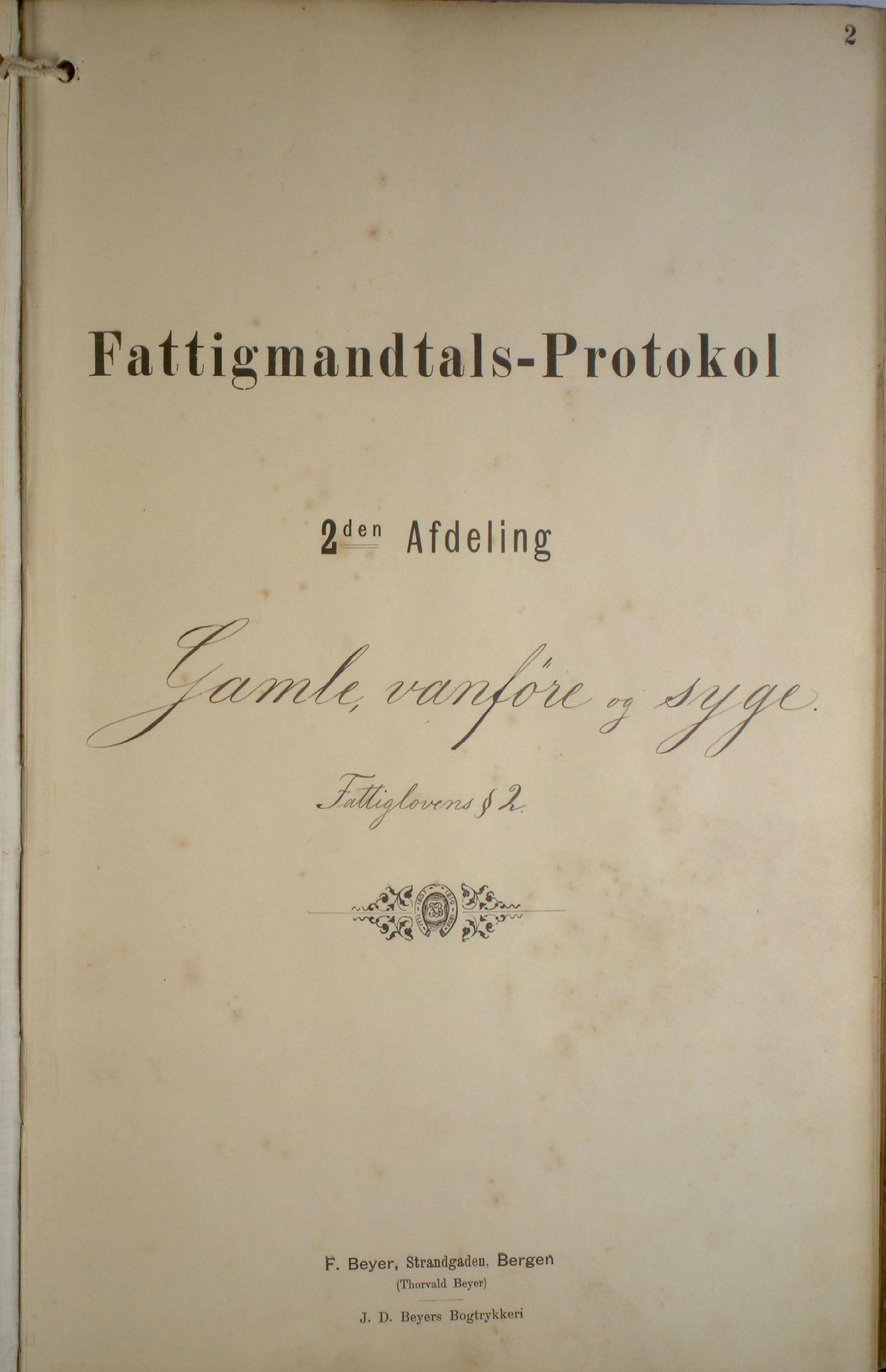 BBA, Bergen fattigvesen, 1891-1895, s. 2
