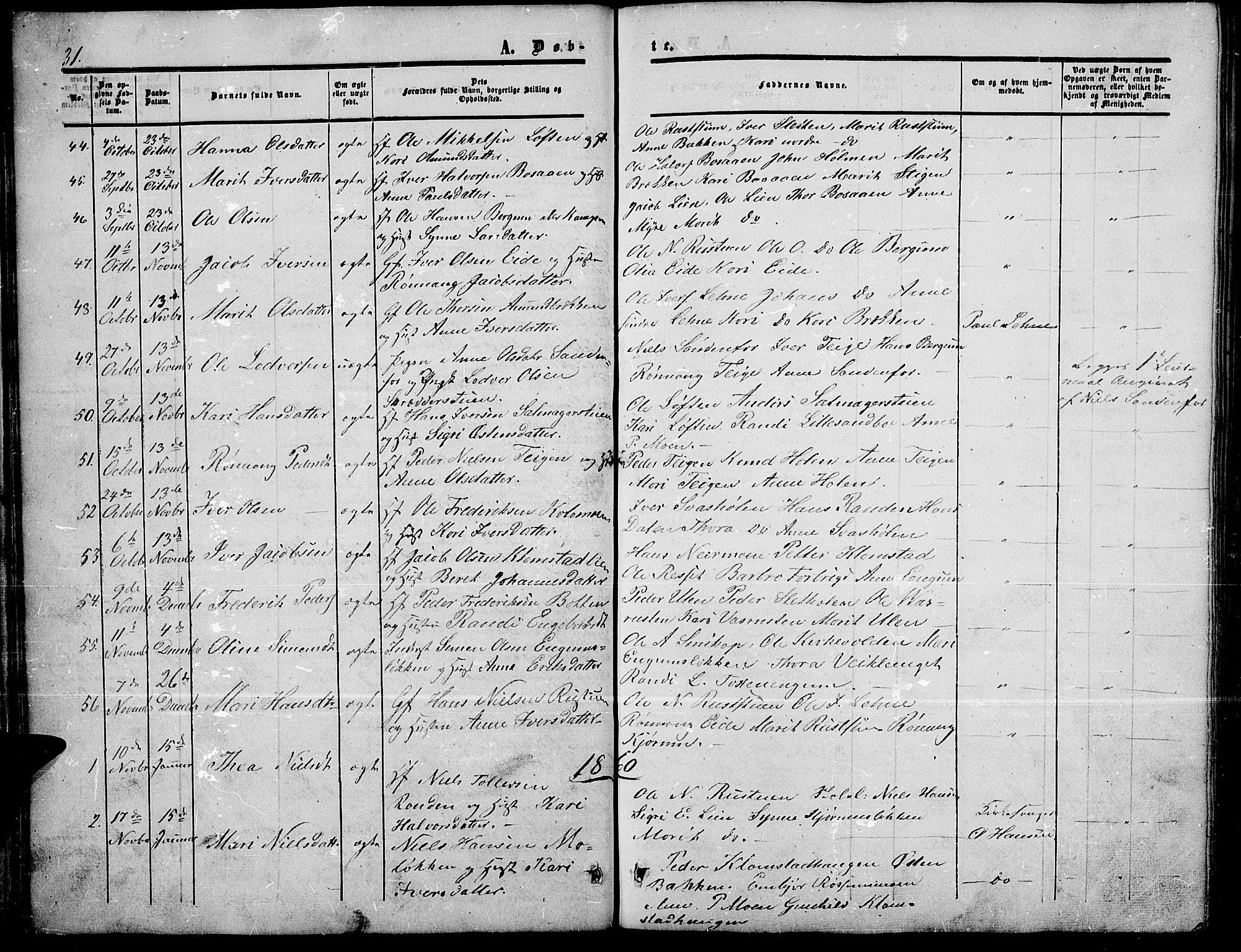 SAH, Nord-Fron prestekontor, Klokkerbok nr. 3, 1851-1886, s. 31