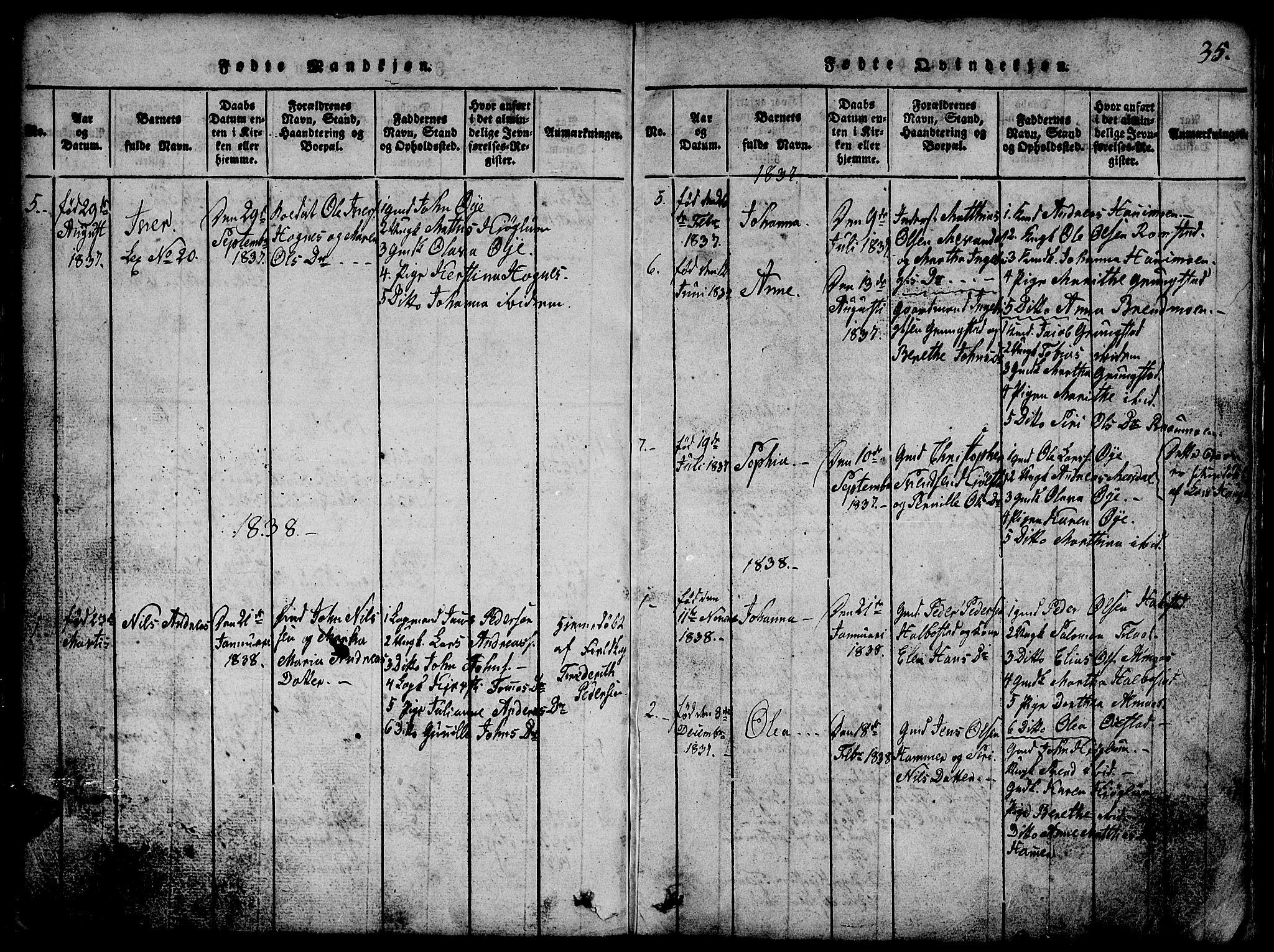 SAT, Ministerialprotokoller, klokkerbøker og fødselsregistre - Nord-Trøndelag, 765/L0562: Klokkerbok nr. 765C01, 1817-1851, s. 35