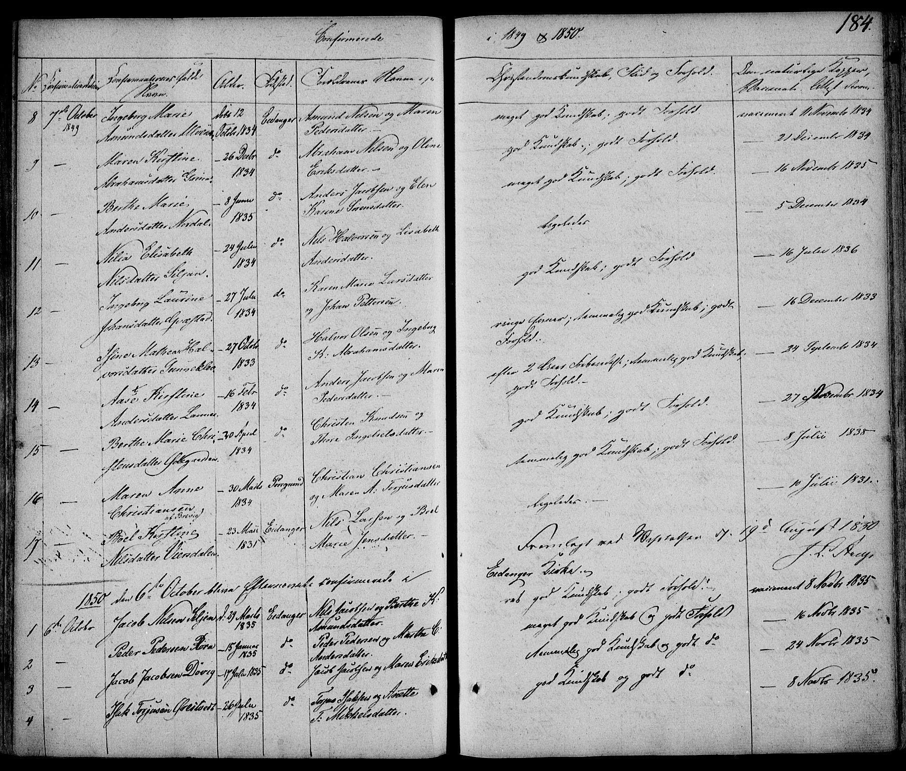 SAKO, Eidanger kirkebøker, F/Fa/L0008: Ministerialbok nr. 8, 1831-1858, s. 184