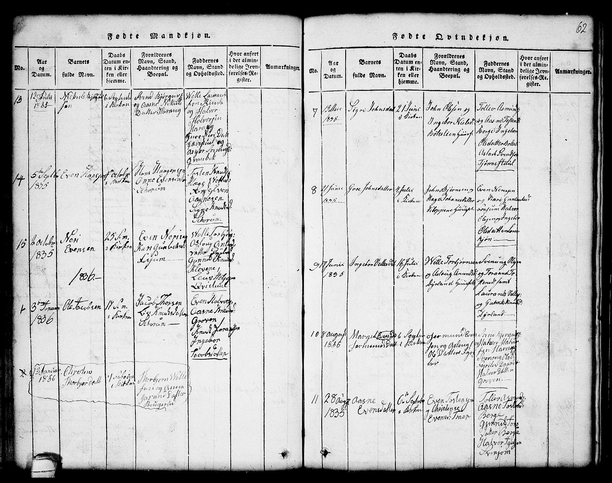 SAKO, Seljord kirkebøker, G/Gc/L0001: Klokkerbok nr. III 1, 1815-1849, s. 62