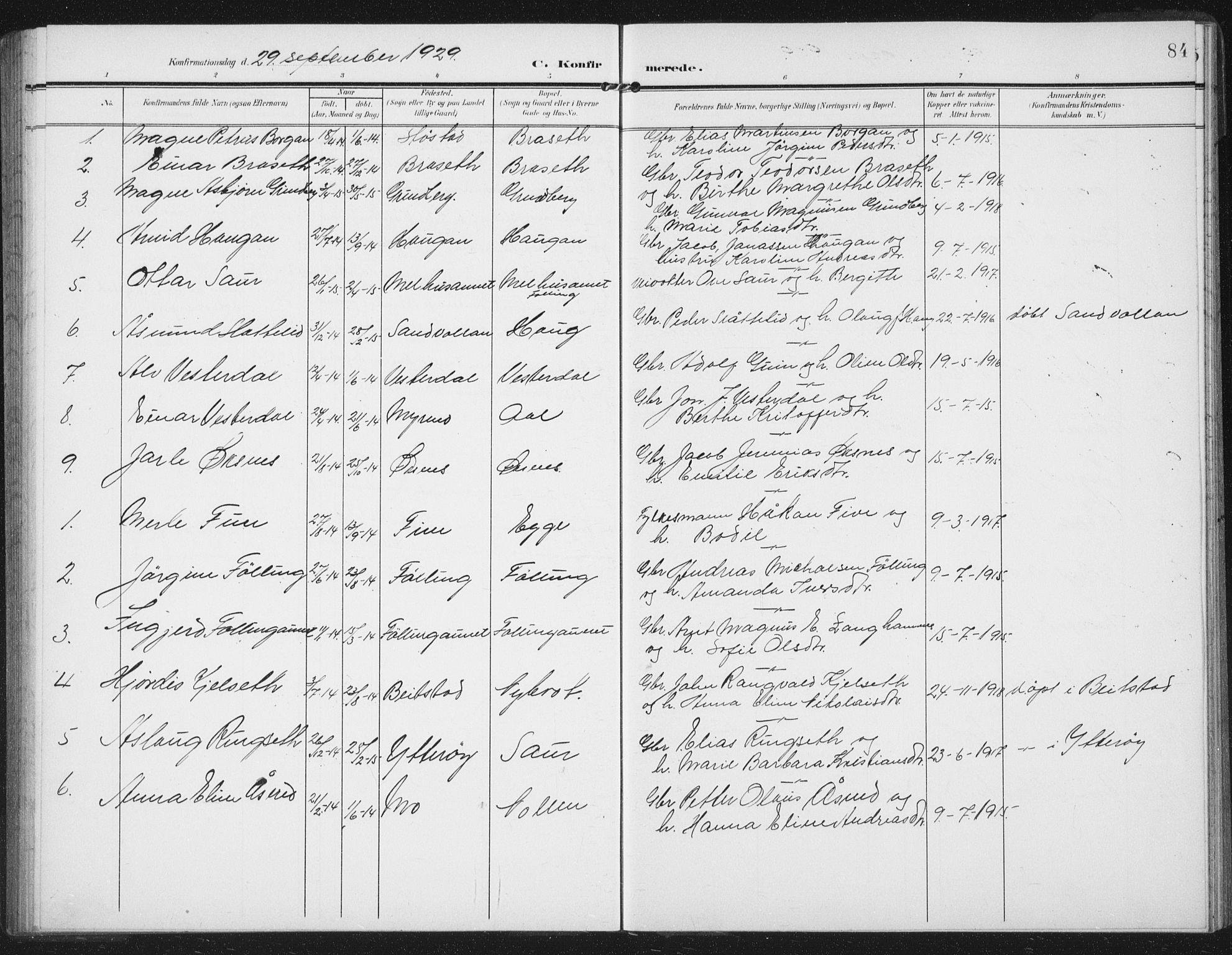 SAT, Ministerialprotokoller, klokkerbøker og fødselsregistre - Nord-Trøndelag, 747/L0460: Klokkerbok nr. 747C02, 1908-1939, s. 84