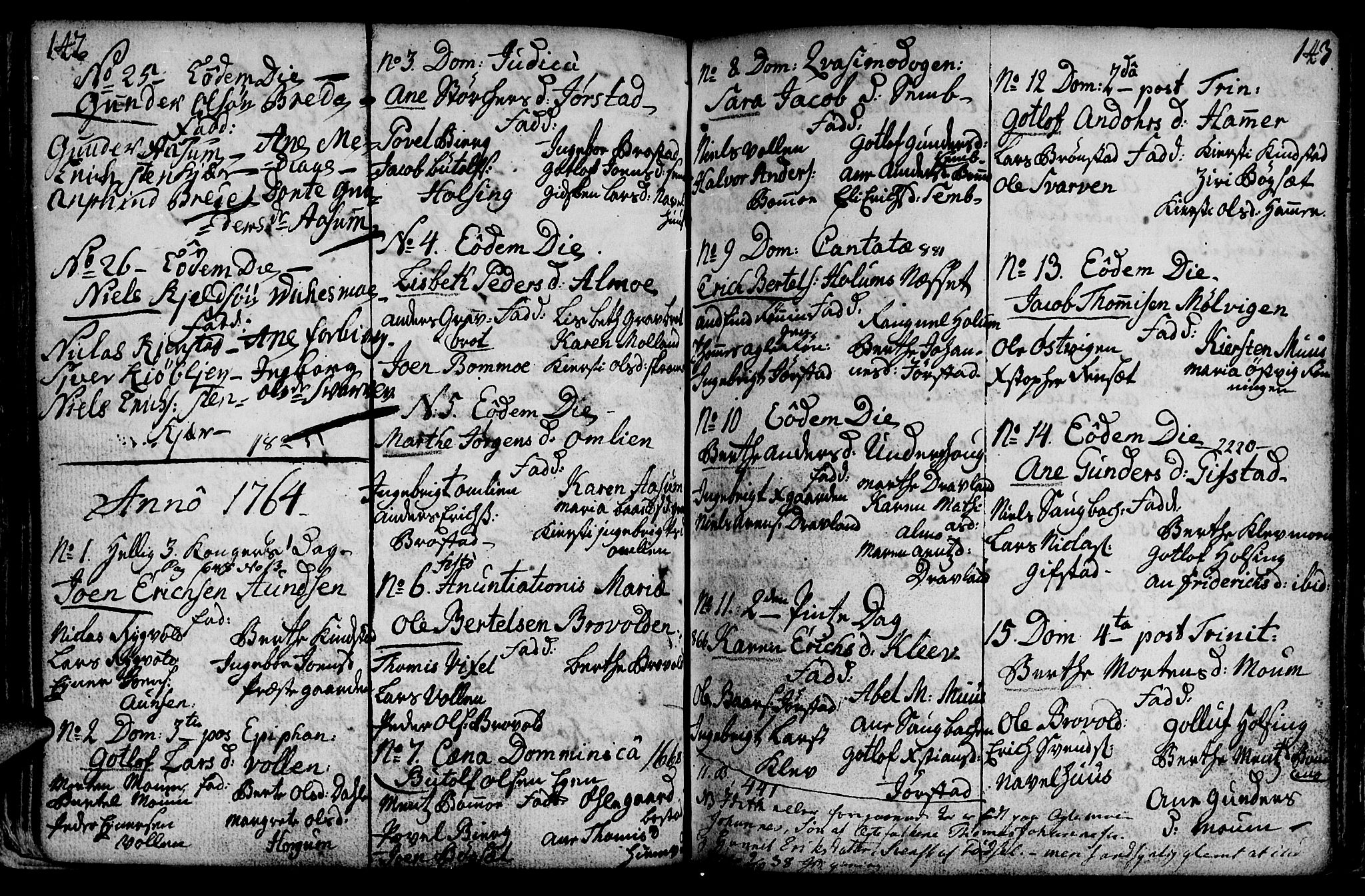 SAT, Ministerialprotokoller, klokkerbøker og fødselsregistre - Nord-Trøndelag, 749/L0467: Ministerialbok nr. 749A01, 1733-1787, s. 142-143