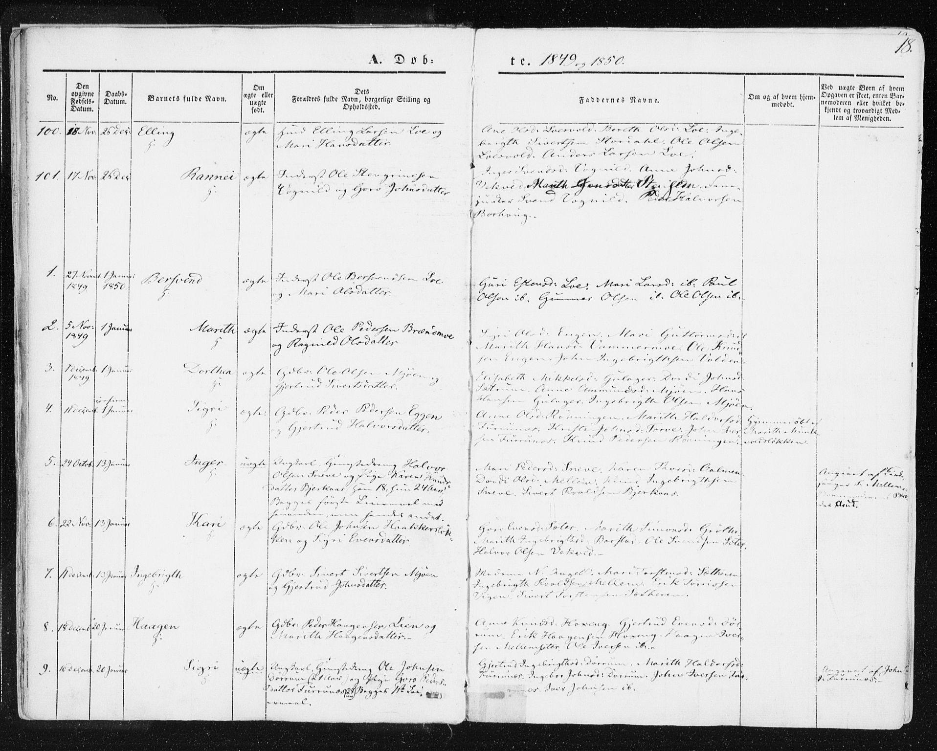 SAT, Ministerialprotokoller, klokkerbøker og fødselsregistre - Sør-Trøndelag, 678/L0899: Ministerialbok nr. 678A08, 1848-1872, s. 18