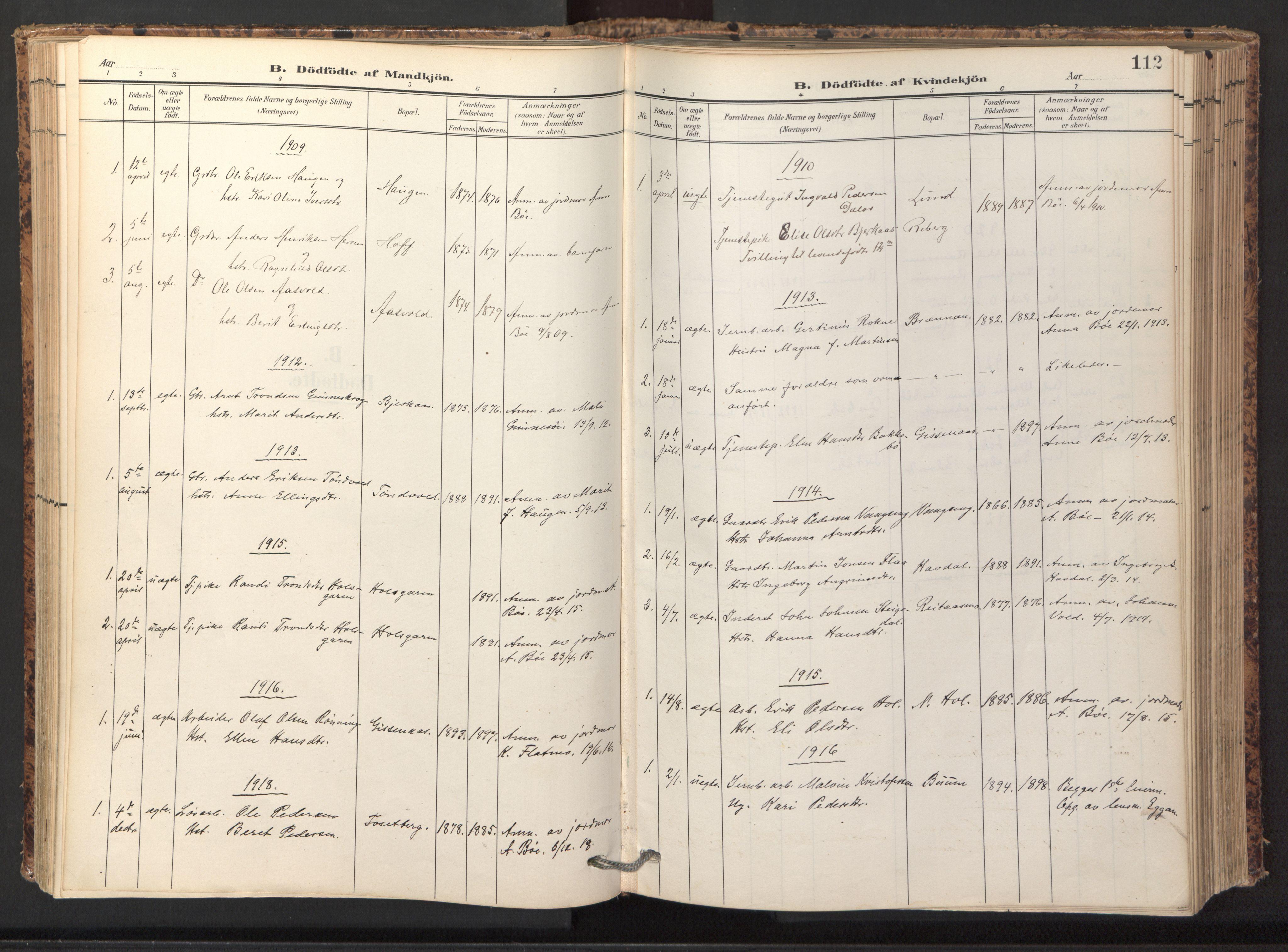 SAT, Ministerialprotokoller, klokkerbøker og fødselsregistre - Sør-Trøndelag, 674/L0873: Ministerialbok nr. 674A05, 1908-1923, s. 112