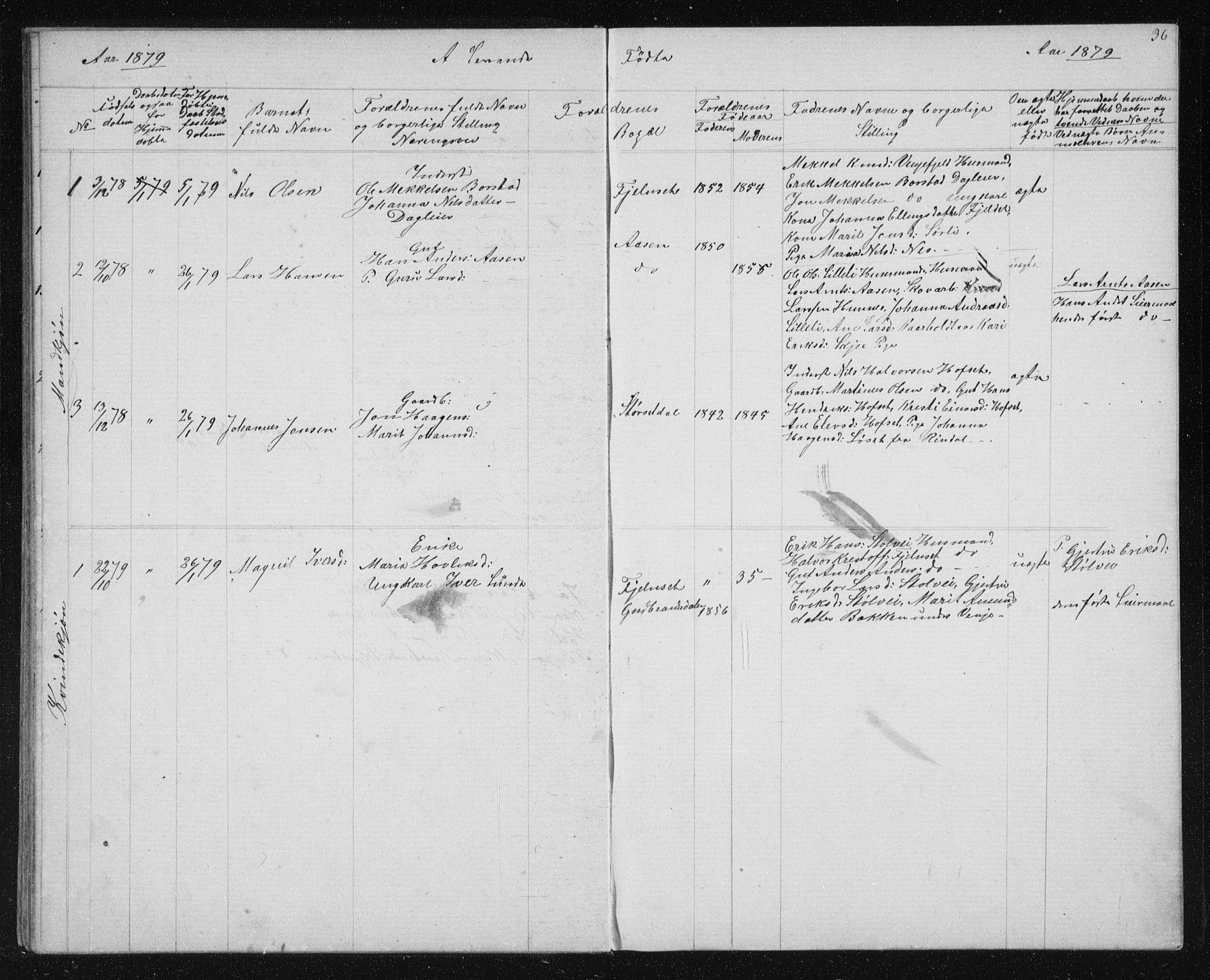 SAT, Ministerialprotokoller, klokkerbøker og fødselsregistre - Sør-Trøndelag, 631/L0513: Klokkerbok nr. 631C01, 1869-1879, s. 36