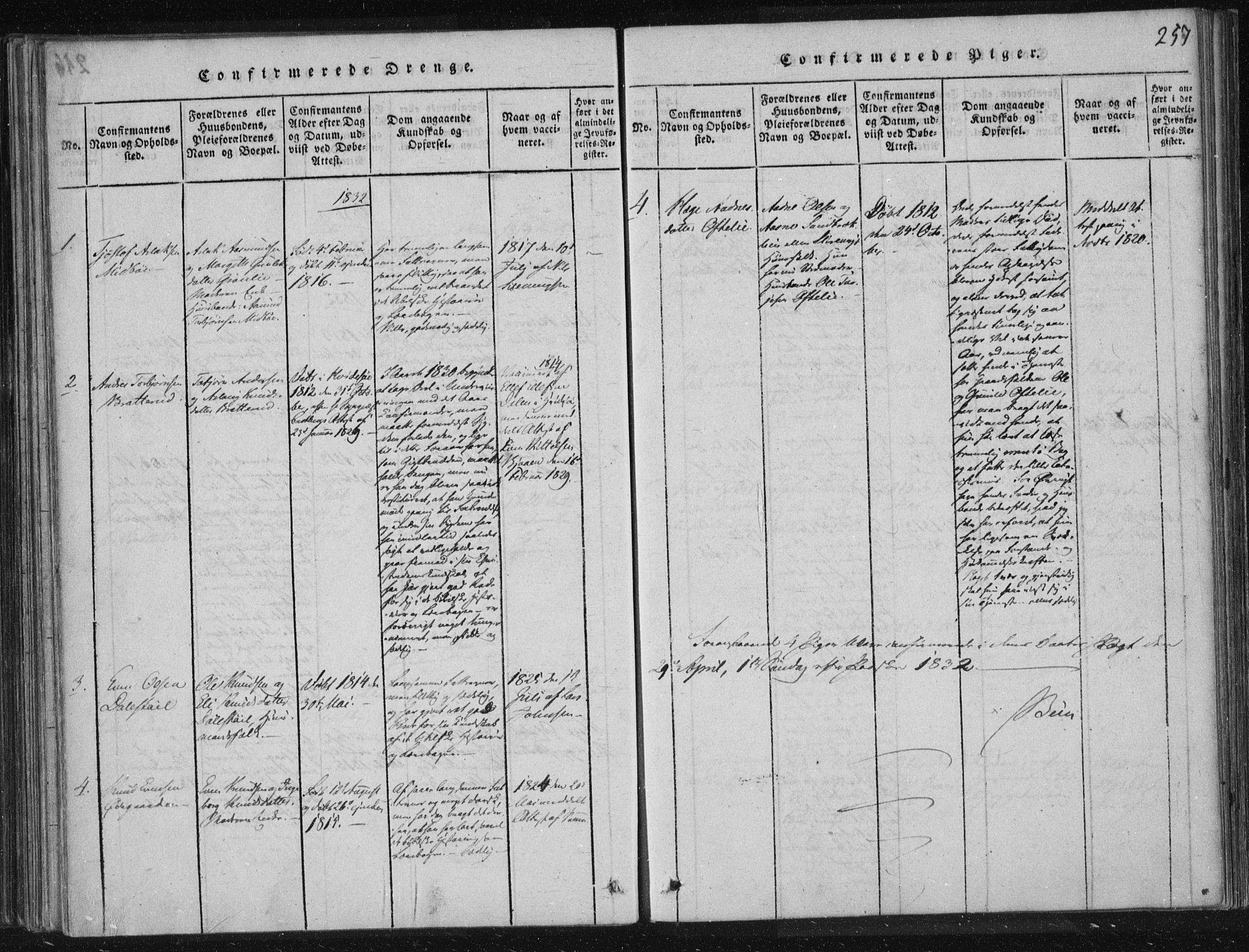 SAKO, Lårdal kirkebøker, F/Fc/L0001: Ministerialbok nr. III 1, 1815-1860, s. 257