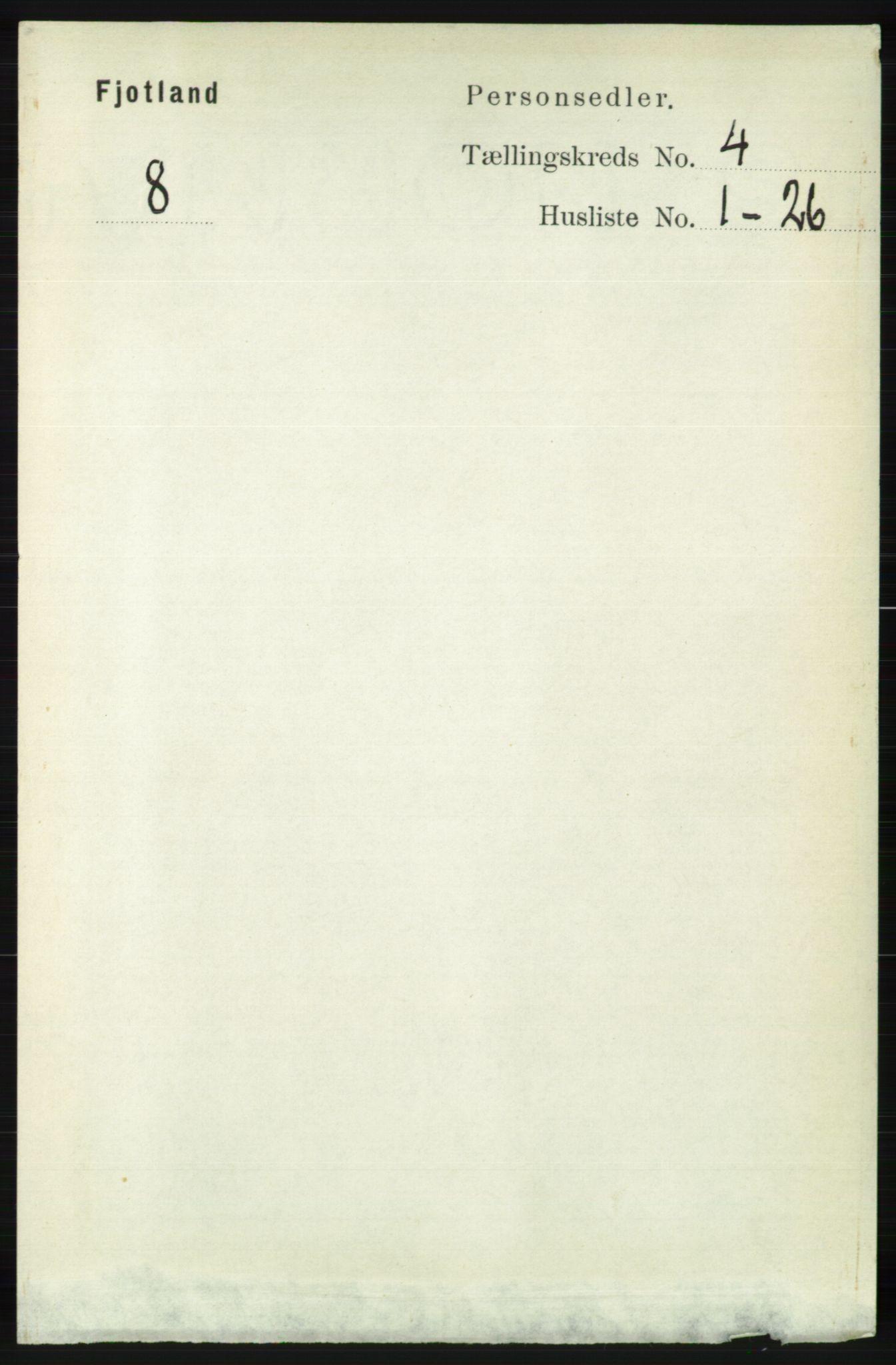 RA, Folketelling 1891 for 1036 Fjotland herred, 1891, s. 527