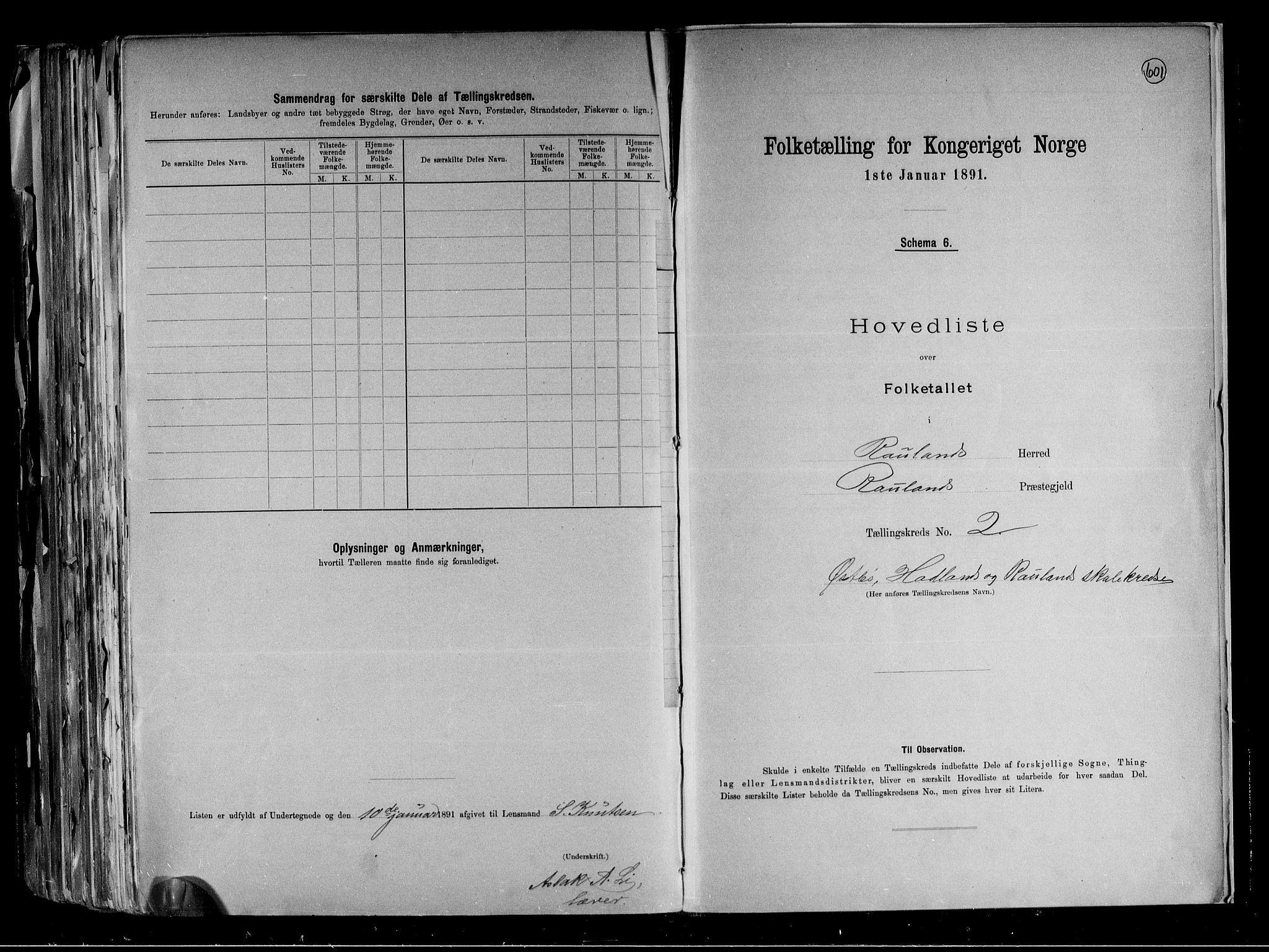 RA, Folketelling 1891 for 0835 Rauland herred, 1891, s. 7