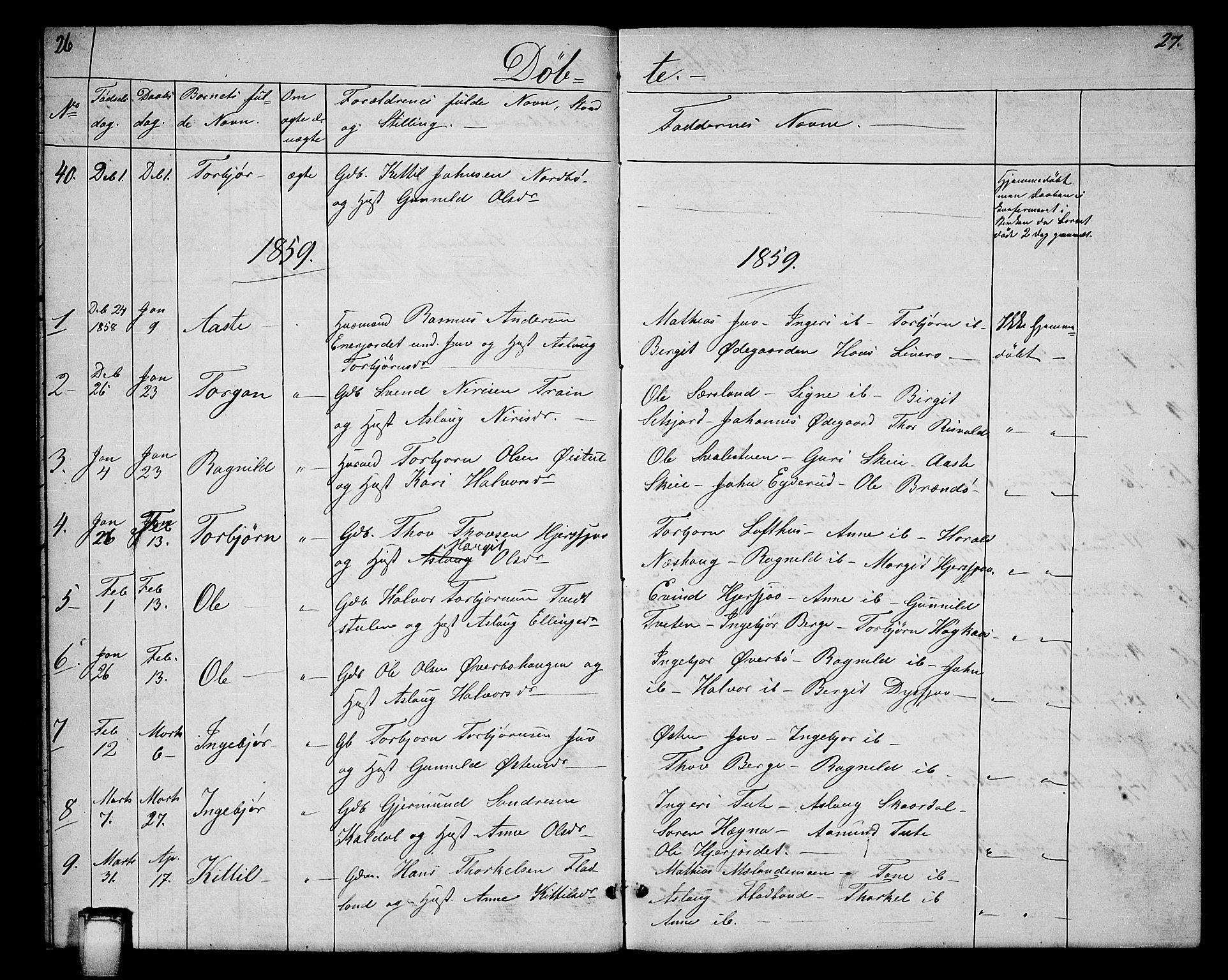 SAKO, Hjartdal kirkebøker, G/Ga/L0002: Klokkerbok nr. I 2, 1854-1888, s. 26-27
