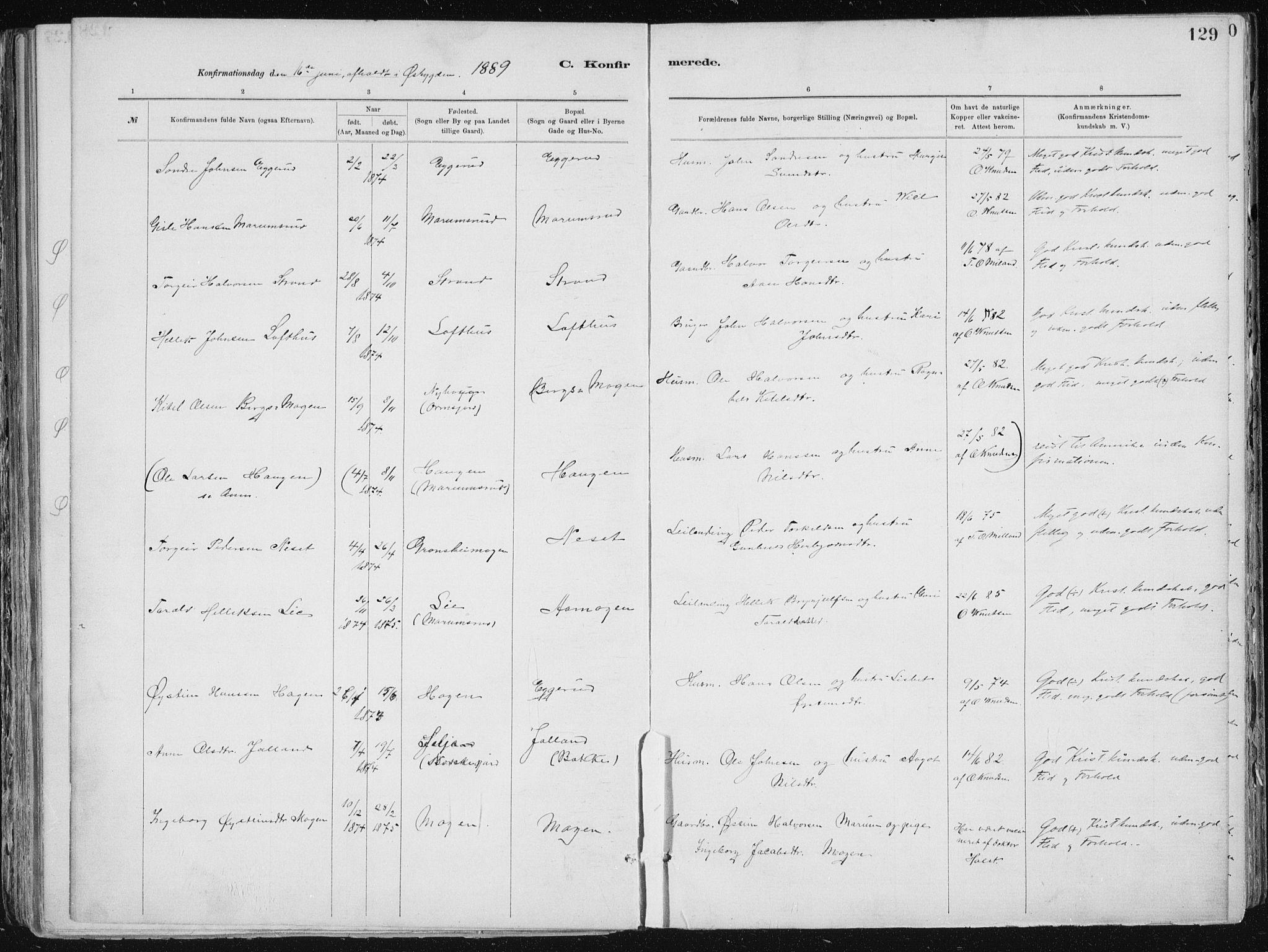 SAKO, Tinn kirkebøker, F/Fa/L0007: Ministerialbok nr. I 7, 1878-1922, s. 129