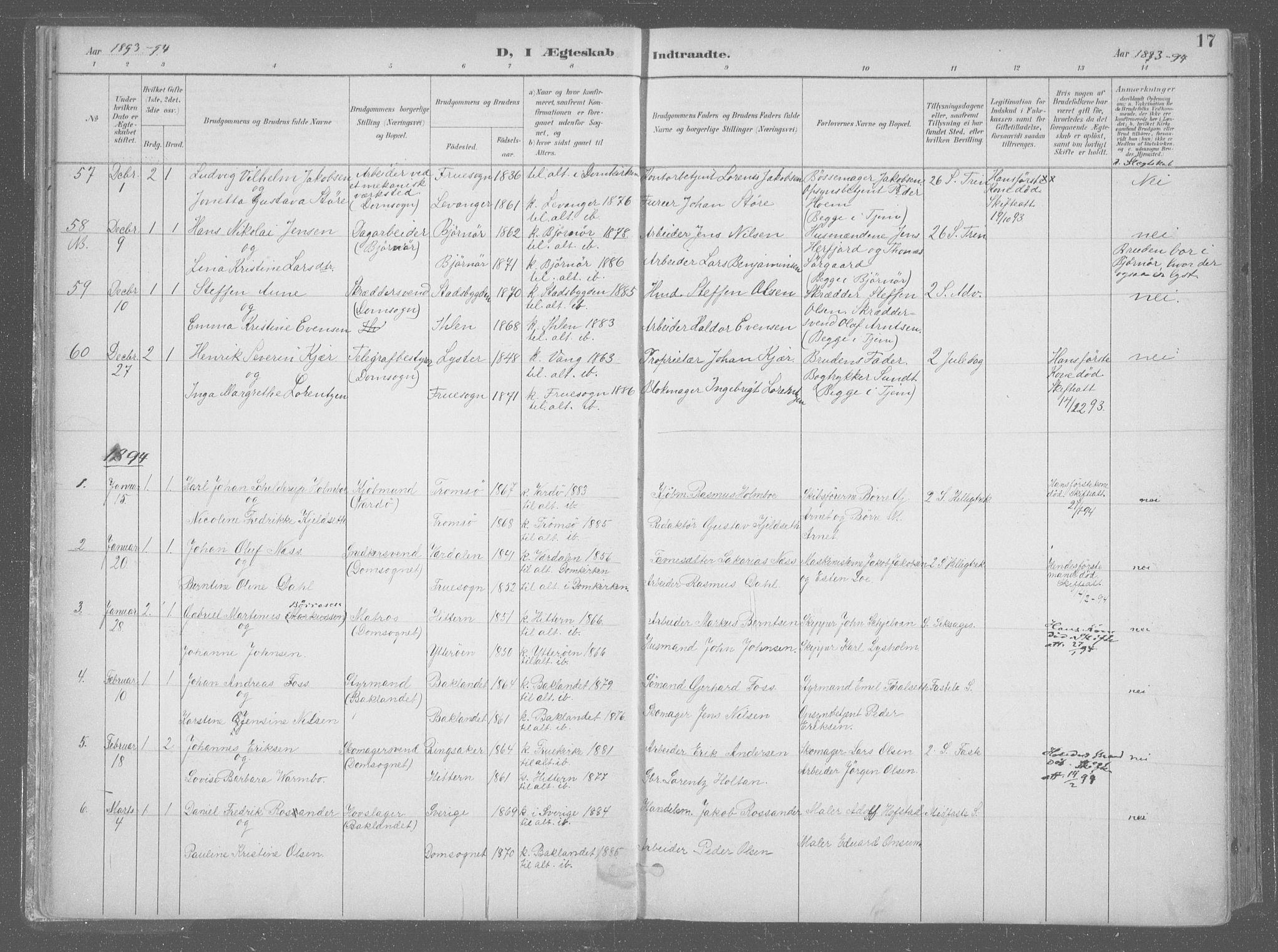 SAT, Ministerialprotokoller, klokkerbøker og fødselsregistre - Sør-Trøndelag, 601/L0064: Ministerialbok nr. 601A31, 1891-1911, s. 17