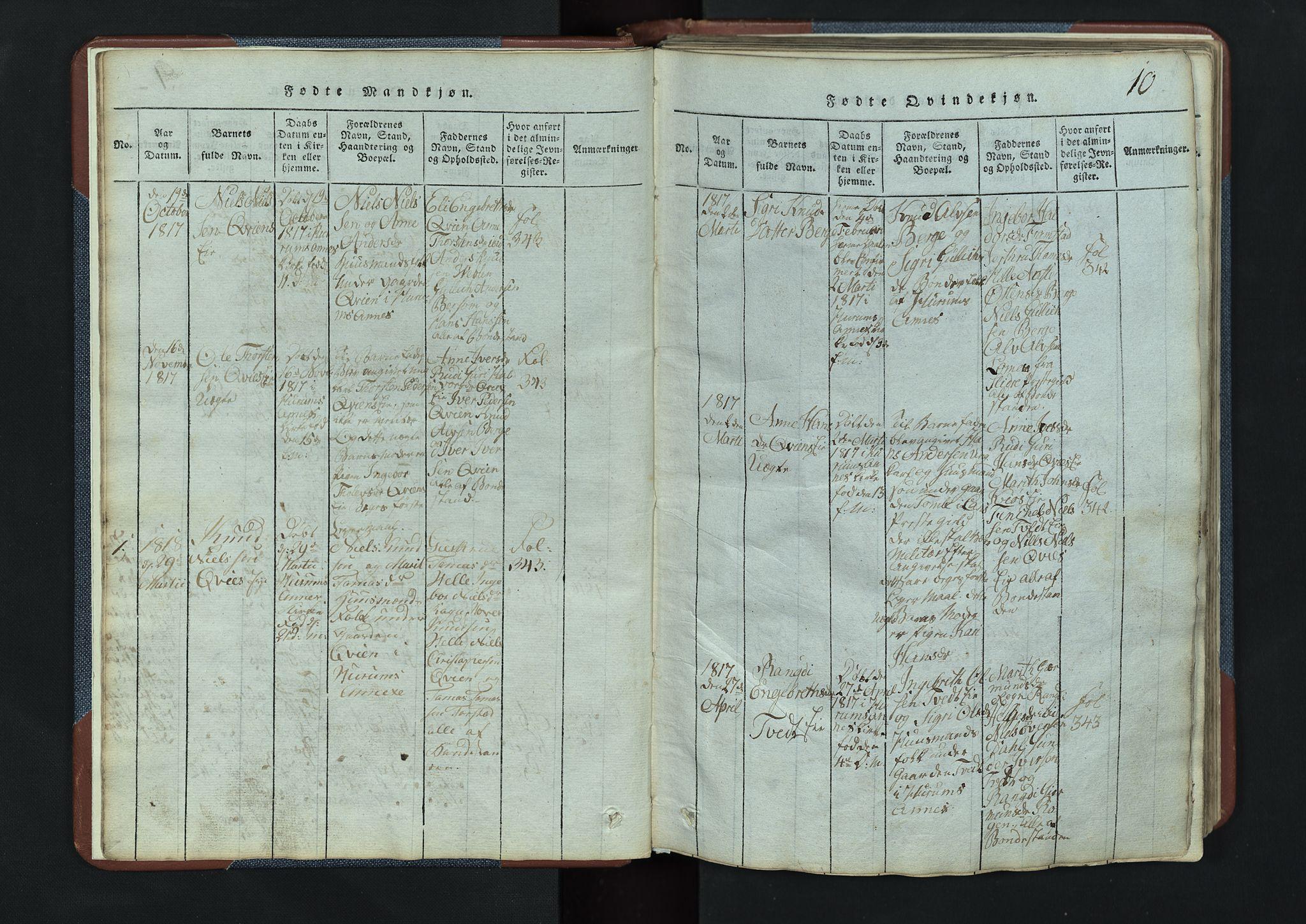 SAH, Vang prestekontor, Valdres, Klokkerbok nr. 3, 1814-1892, s. 10