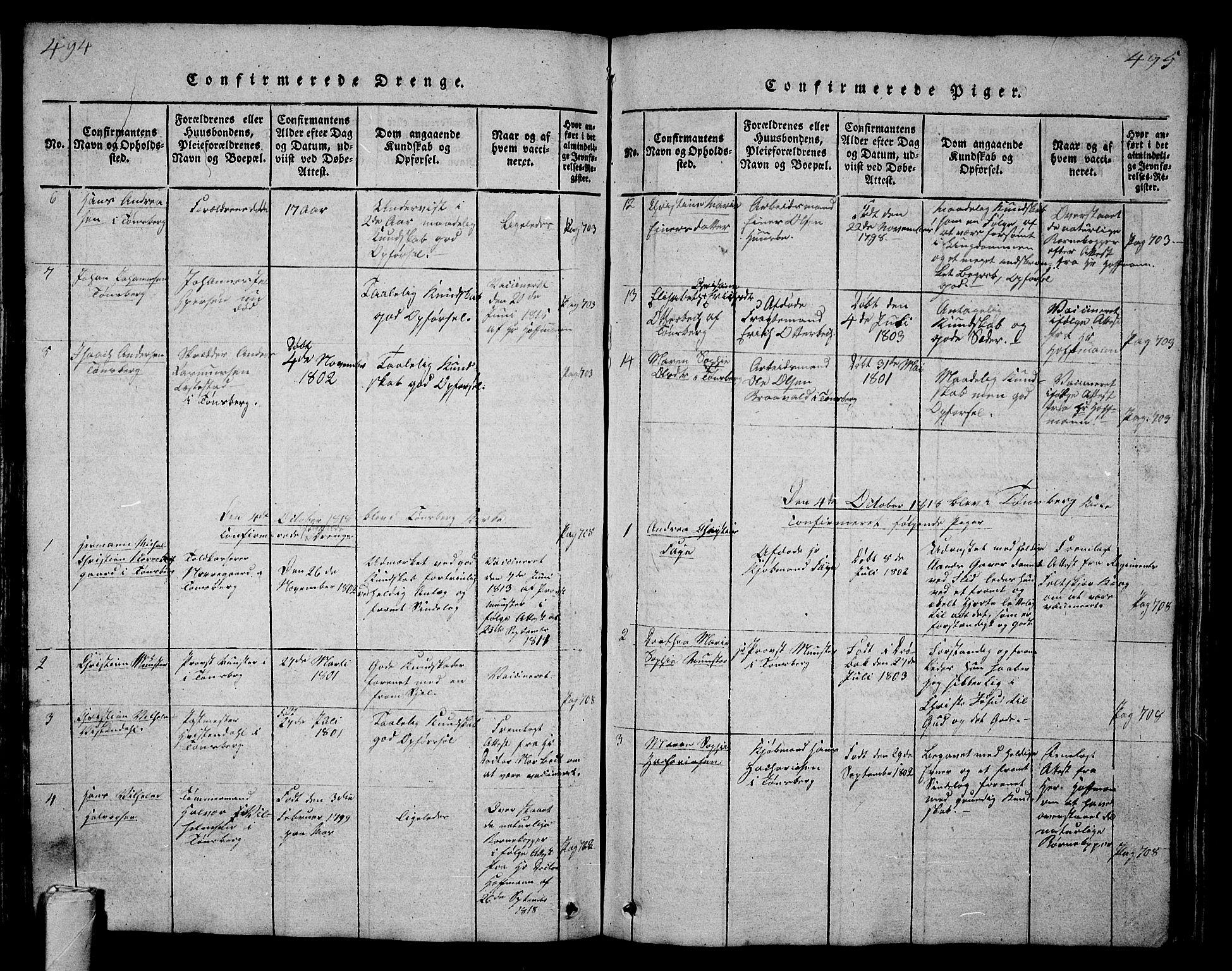 SAKO, Tønsberg kirkebøker, G/Ga/L0001: Klokkerbok nr. 1, 1813-1826, s. 494-495