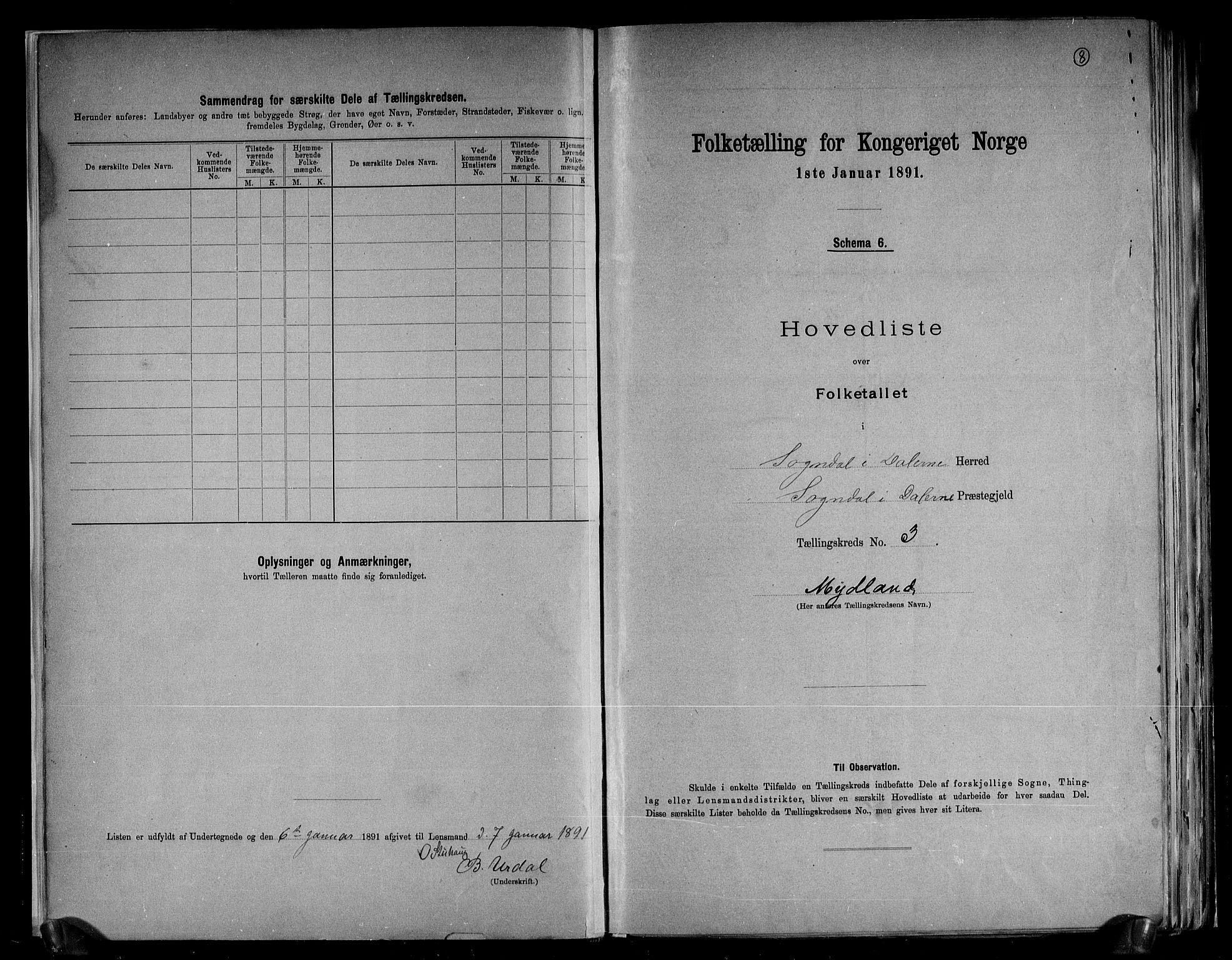 RA, Folketelling 1891 for 1111 Sokndal herred, 1891, s. 8