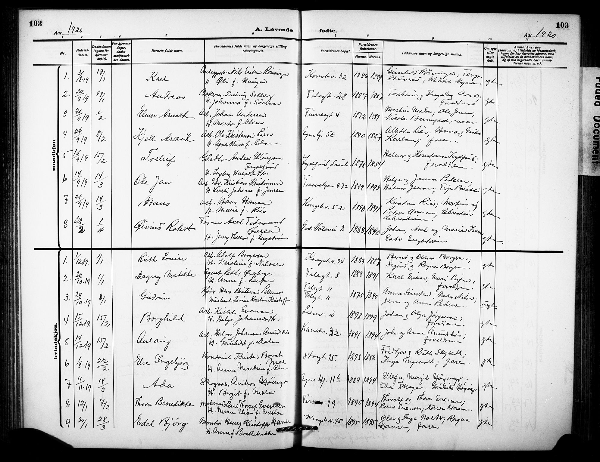 SAKO, Notodden kirkebøker, G/Ga/L0001: Klokkerbok nr. 1, 1912-1923, s. 103