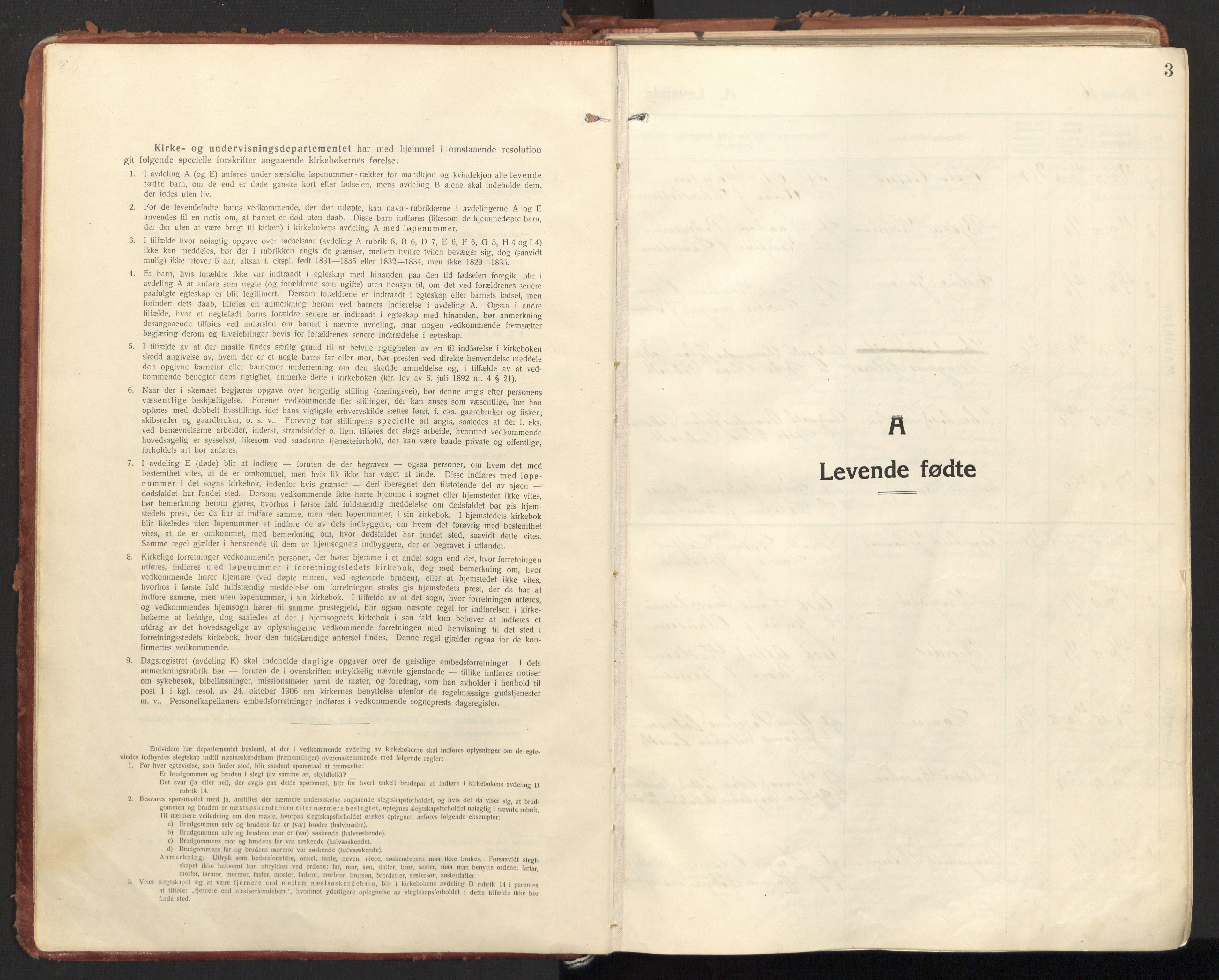 SAT, Ministerialprotokoller, klokkerbøker og fødselsregistre - Nordland, 846/L0650: Ministerialbok nr. 846A08, 1916-1935, s. 3