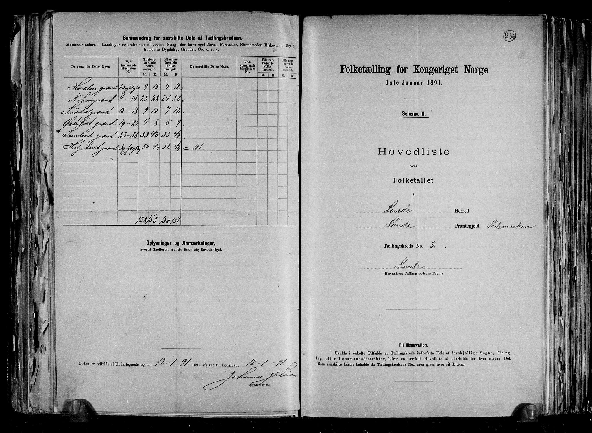 RA, Folketelling 1891 for 0820 Lunde herred, 1891, s. 9