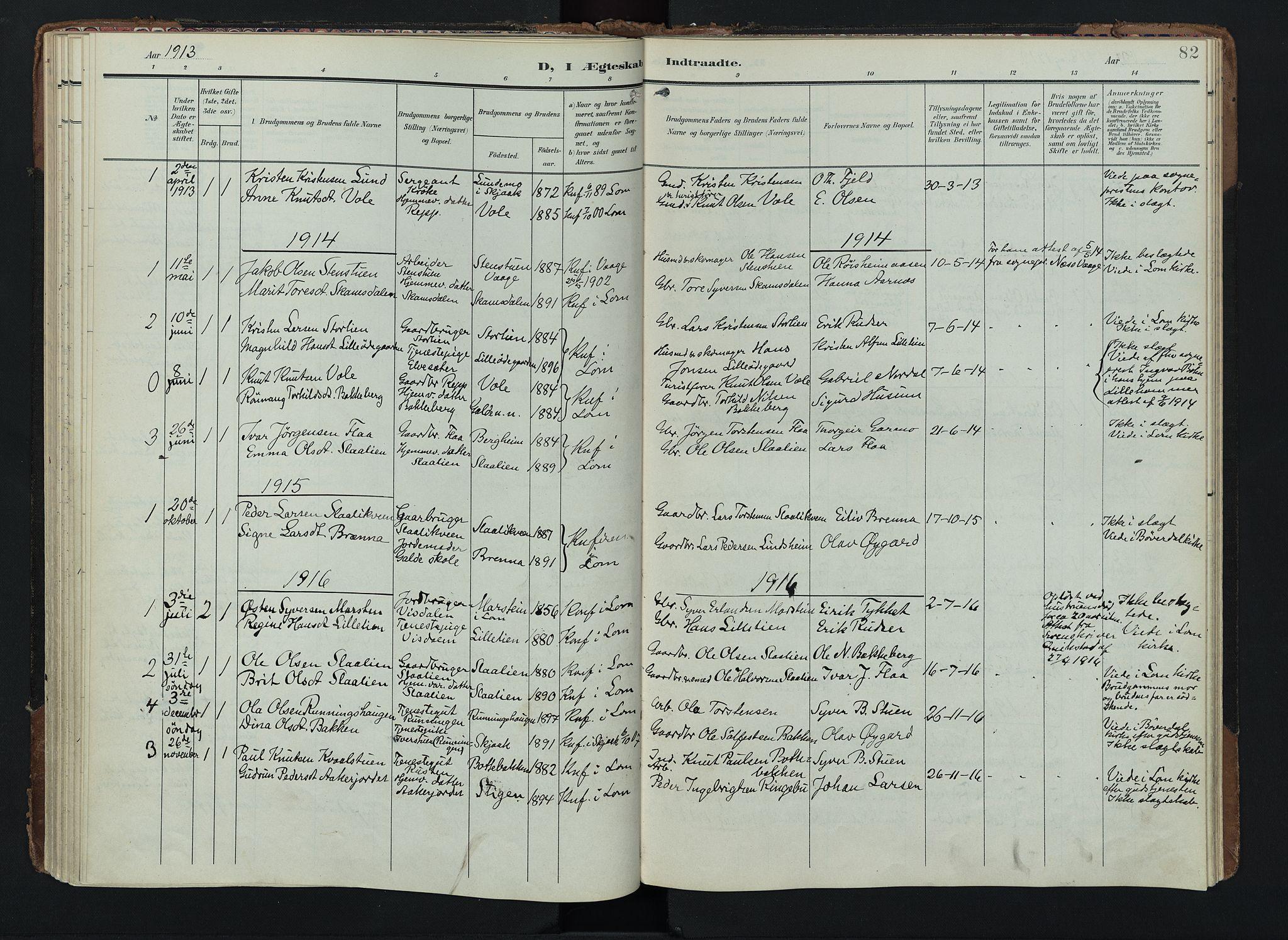 SAH, Lom prestekontor, K/L0012: Ministerialbok nr. 12, 1904-1928, s. 82