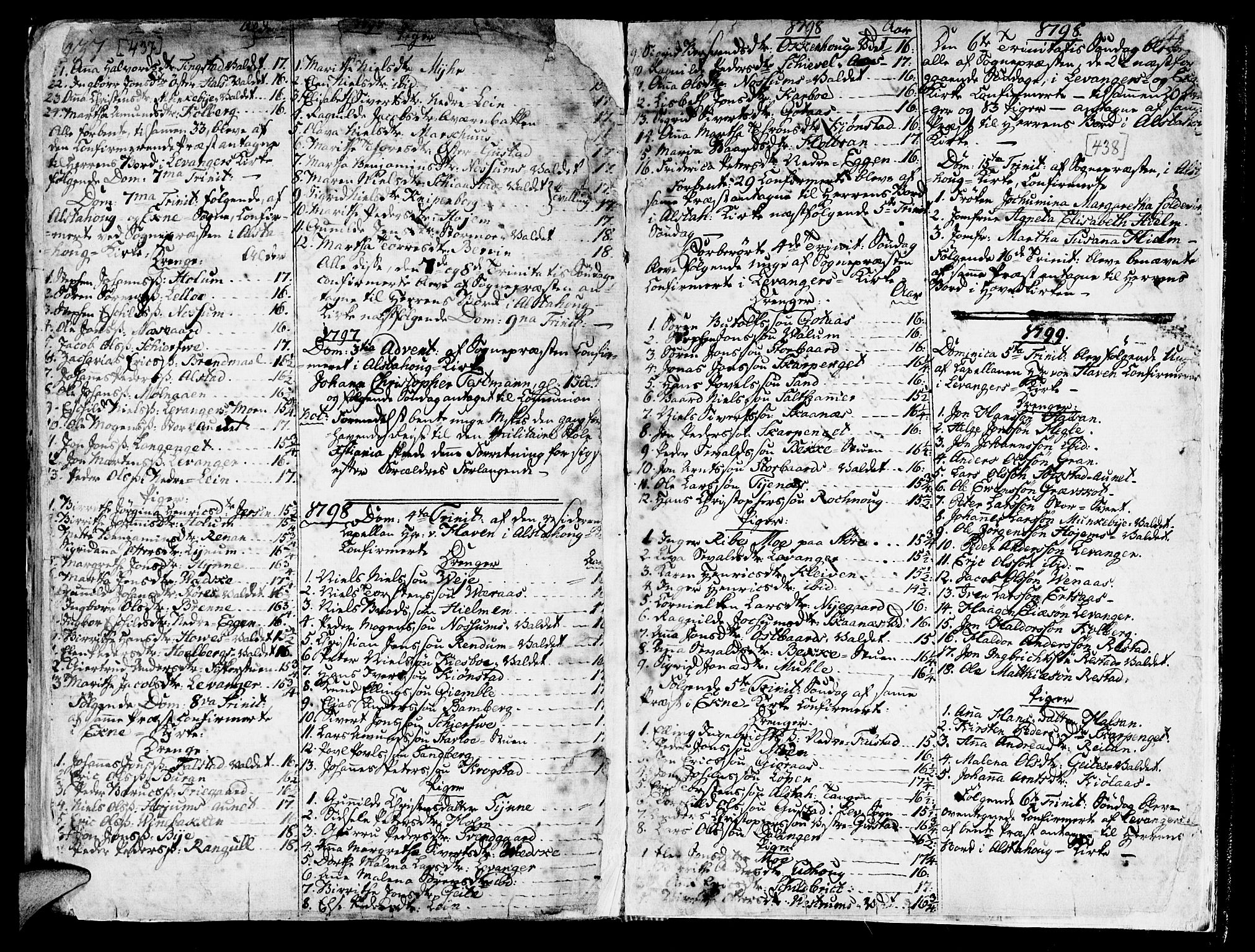 SAT, Ministerialprotokoller, klokkerbøker og fødselsregistre - Nord-Trøndelag, 717/L0141: Ministerialbok nr. 717A01, 1747-1803, s. 437-438