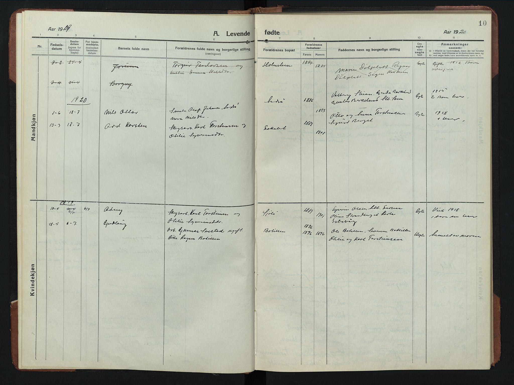 SAH, Rendalen prestekontor, H/Ha/Hab/L0008: Klokkerbok nr. 8, 1914-1948, s. 10