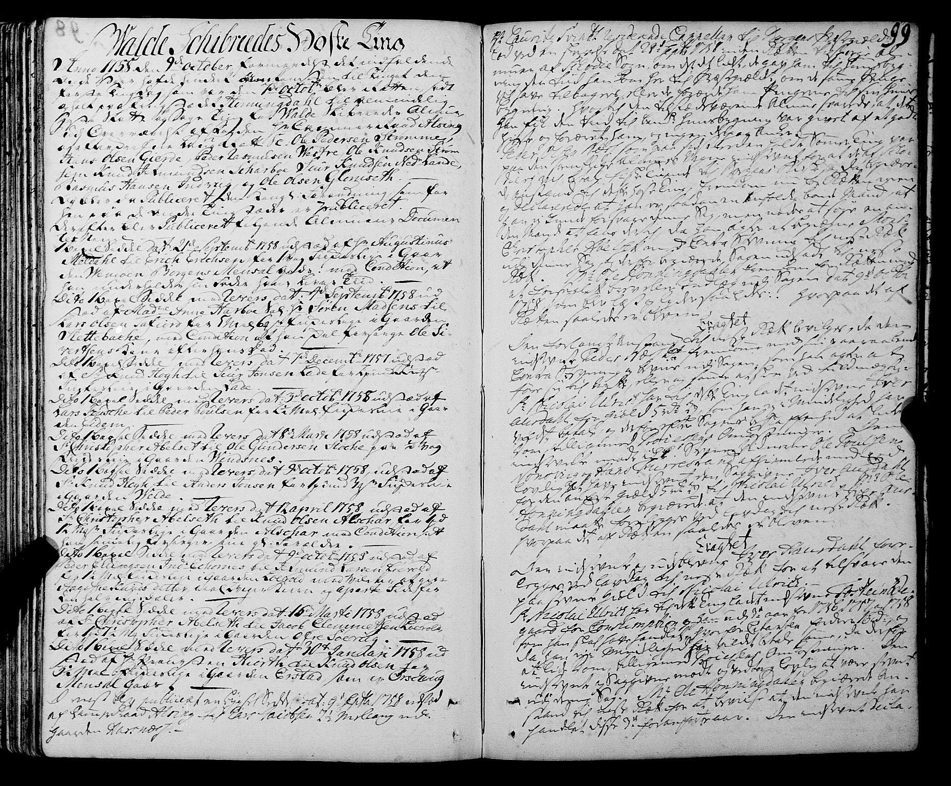 SAT, Sunnmøre sorenskriveri, 1/1A/L0036: Tingbok 33A, 1757-1760, s. 98b-99a