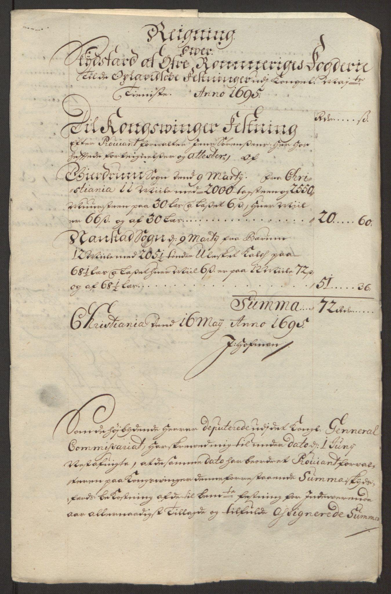 RA, Rentekammeret inntil 1814, Reviderte regnskaper, Fogderegnskap, R12/L0707: Fogderegnskap Øvre Romerike, 1695, s. 251