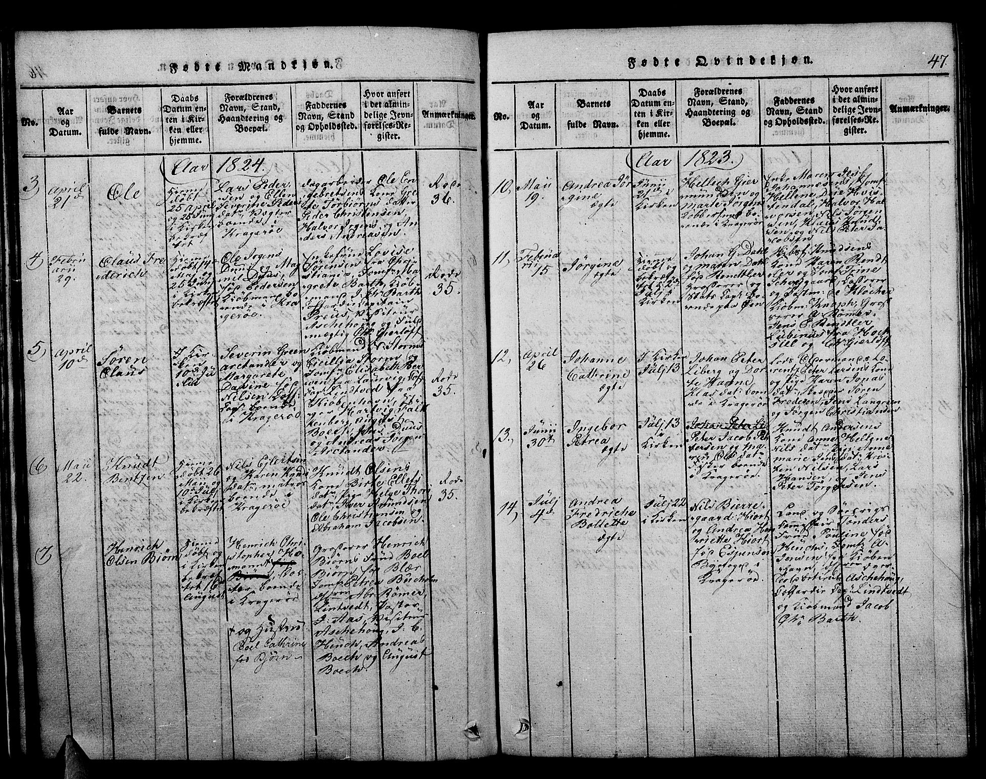 SAKO, Kragerø kirkebøker, F/Fa/L0004: Ministerialbok nr. 4, 1814-1831, s. 47
