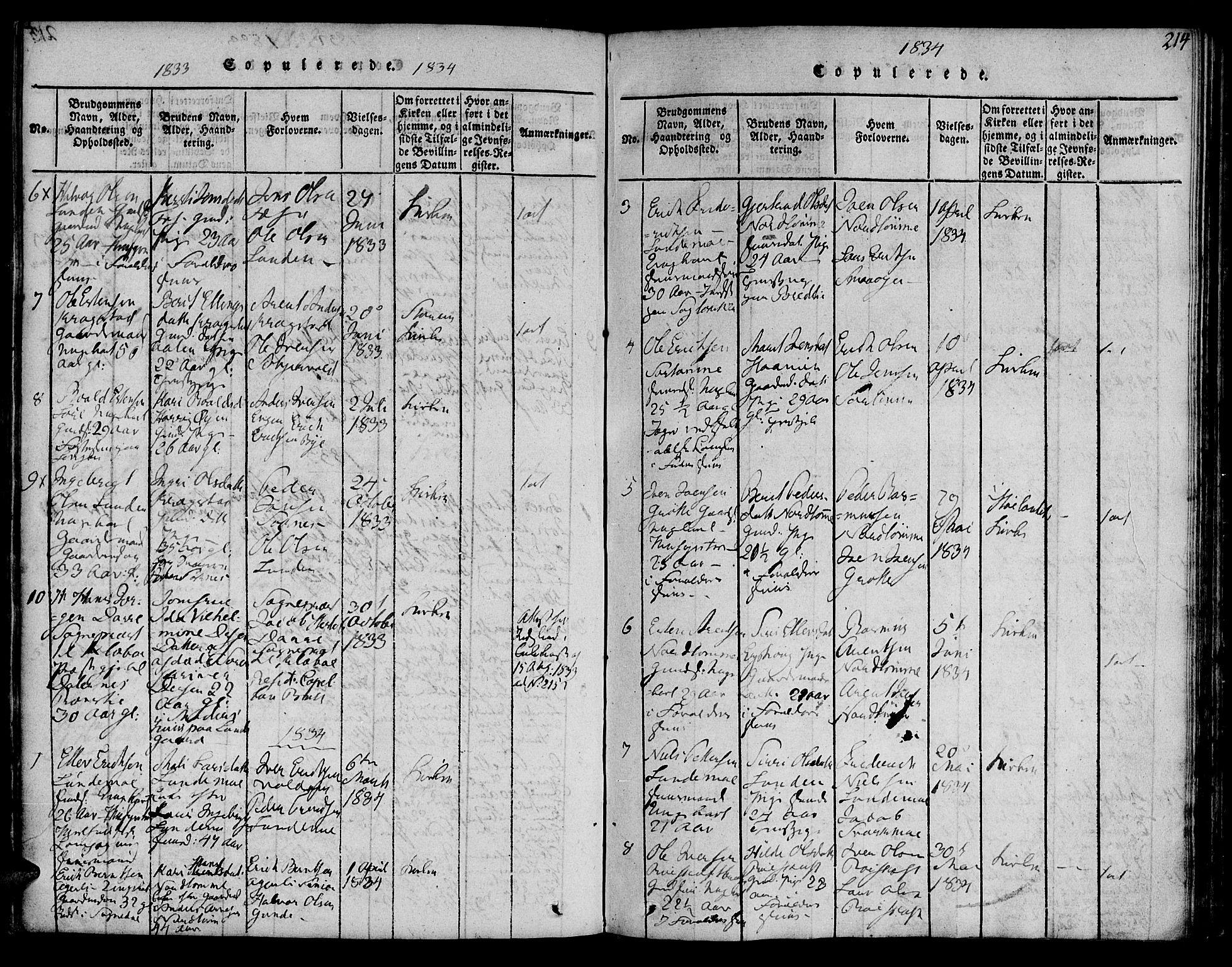 SAT, Ministerialprotokoller, klokkerbøker og fødselsregistre - Sør-Trøndelag, 692/L1102: Ministerialbok nr. 692A02, 1816-1842, s. 214