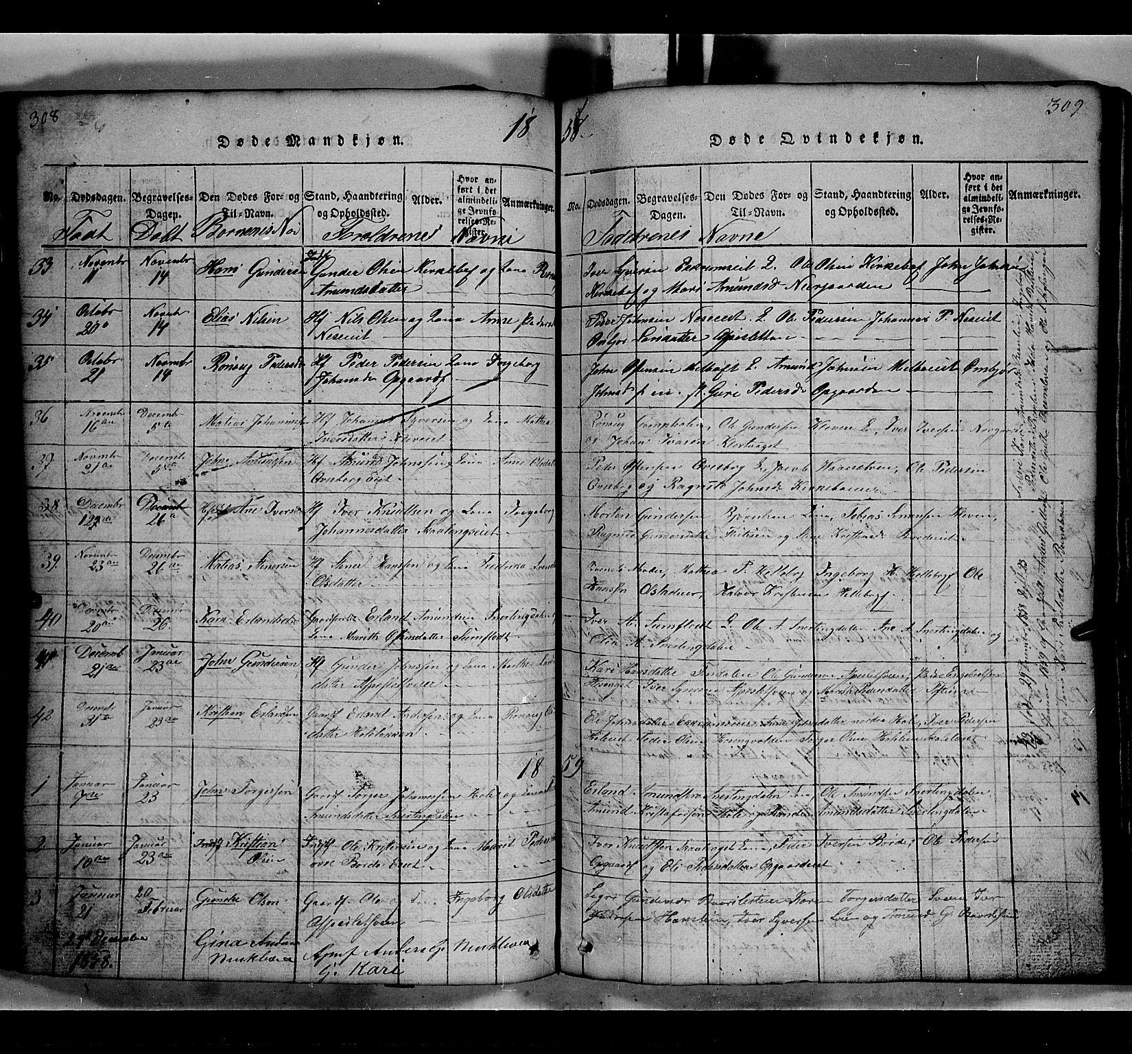 SAH, Gausdal prestekontor, Klokkerbok nr. 2, 1818-1874, s. 308-309