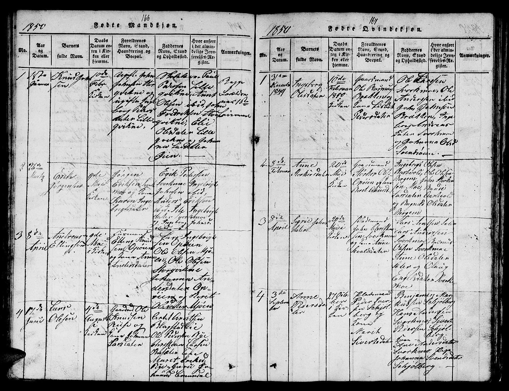 SAT, Ministerialprotokoller, klokkerbøker og fødselsregistre - Sør-Trøndelag, 671/L0842: Klokkerbok nr. 671C01, 1816-1867, s. 166-167