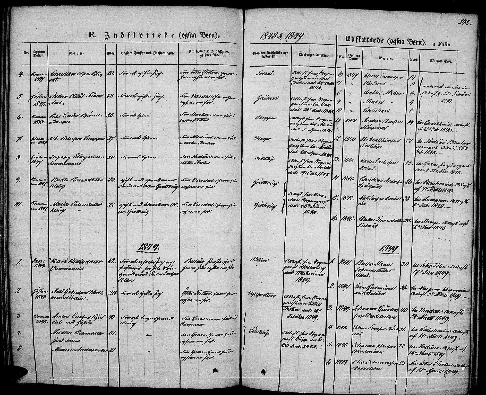 SAH, Vestre Toten prestekontor, Ministerialbok nr. 4, 1844-1849, s. 242