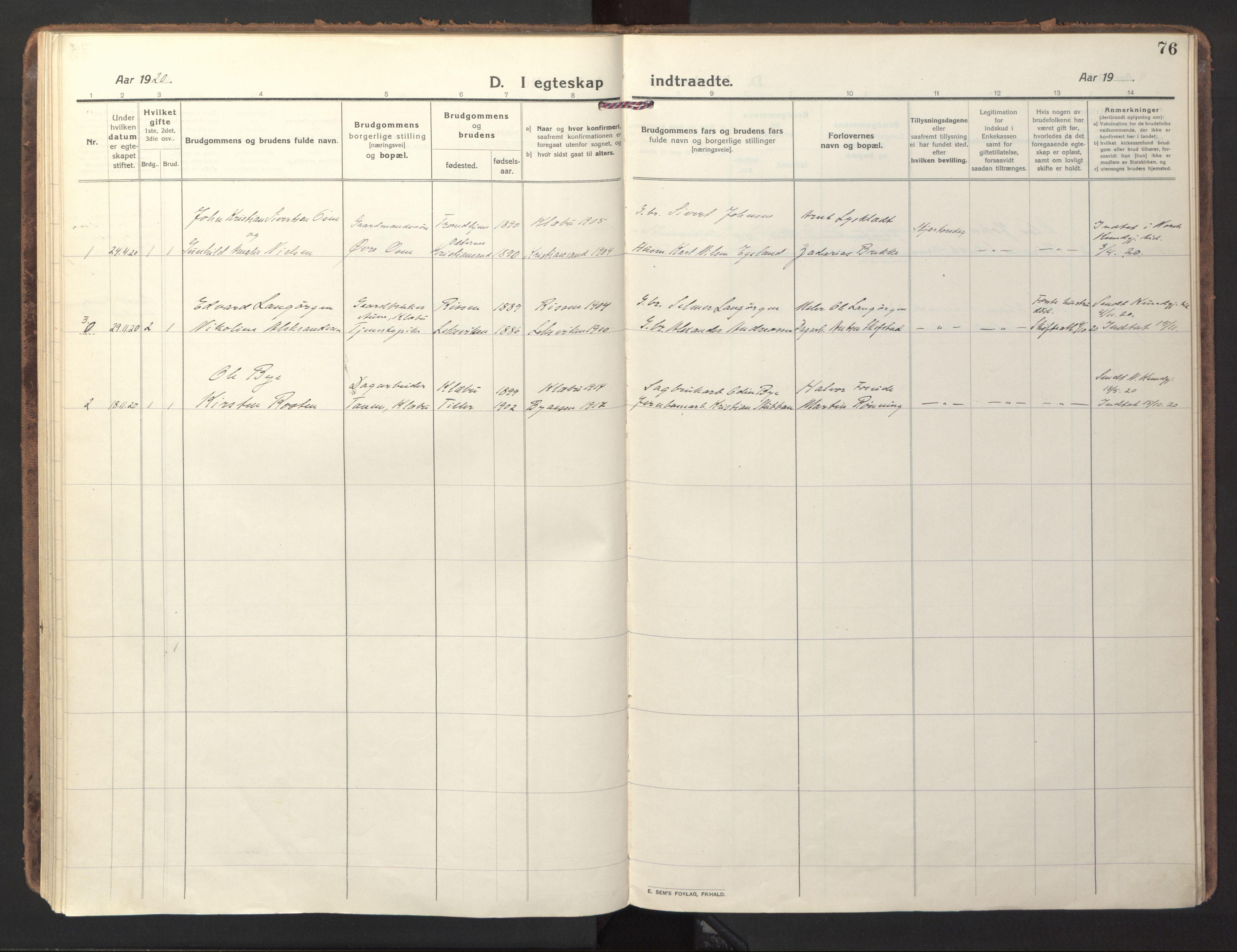 SAT, Ministerialprotokoller, klokkerbøker og fødselsregistre - Sør-Trøndelag, 618/L0449: Ministerialbok nr. 618A12, 1917-1924, s. 76
